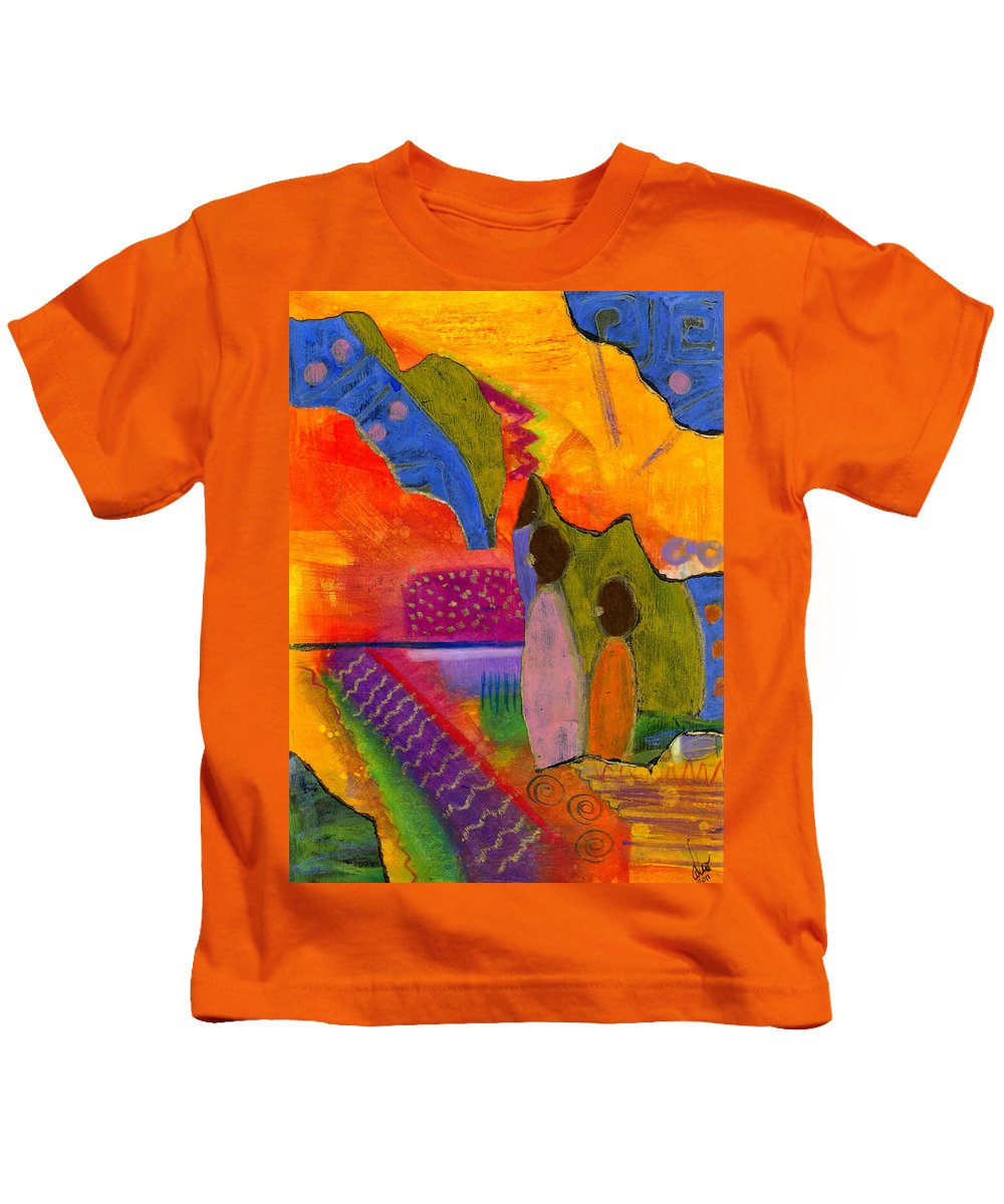 Collage Kids T-Shirt featuring the painting Hallelujah Praise by Angela L Walker