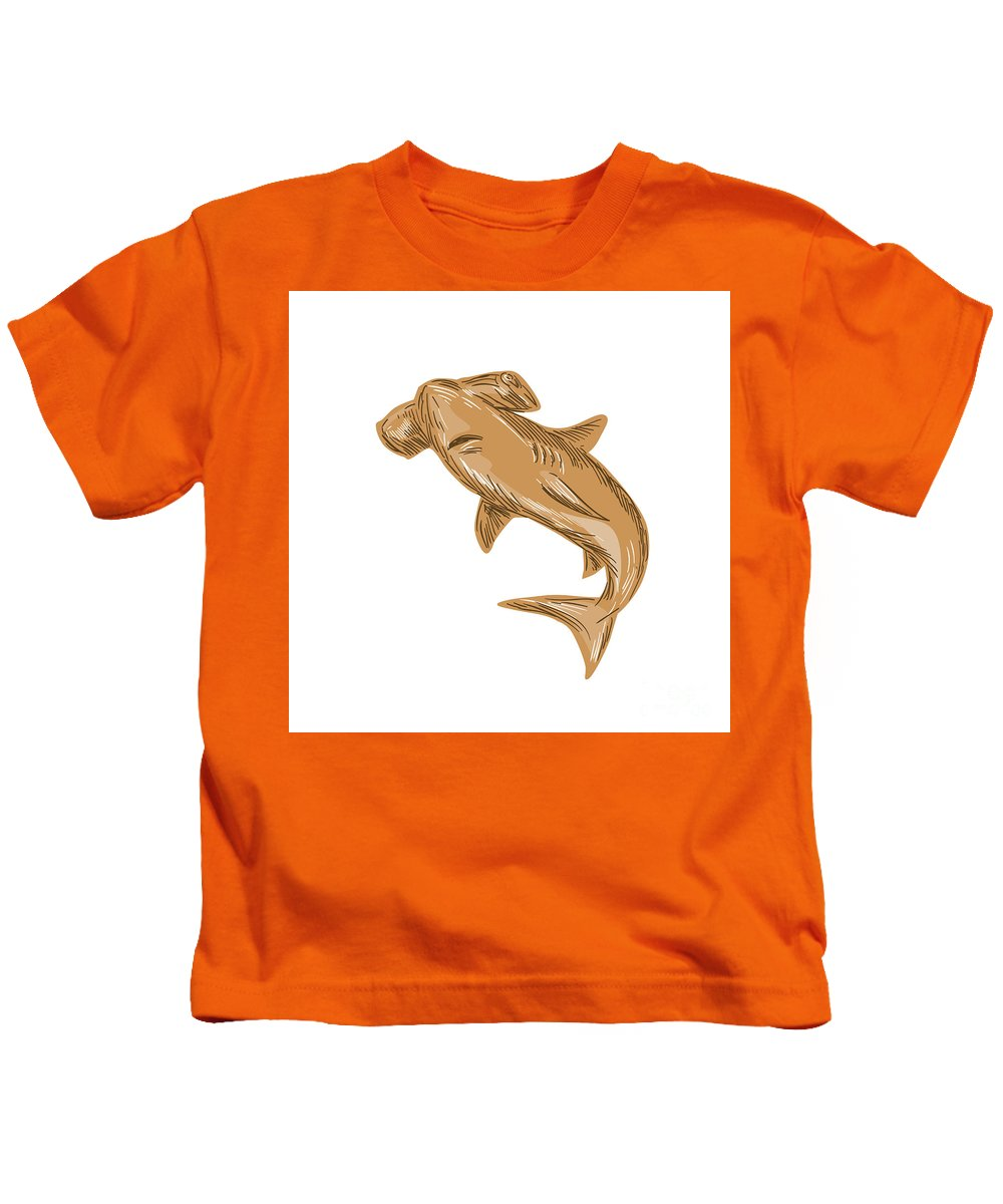 Drawing Kids T-Shirt featuring the digital art Hammerhead Shark Drawing by Aloysius Patrimonio
