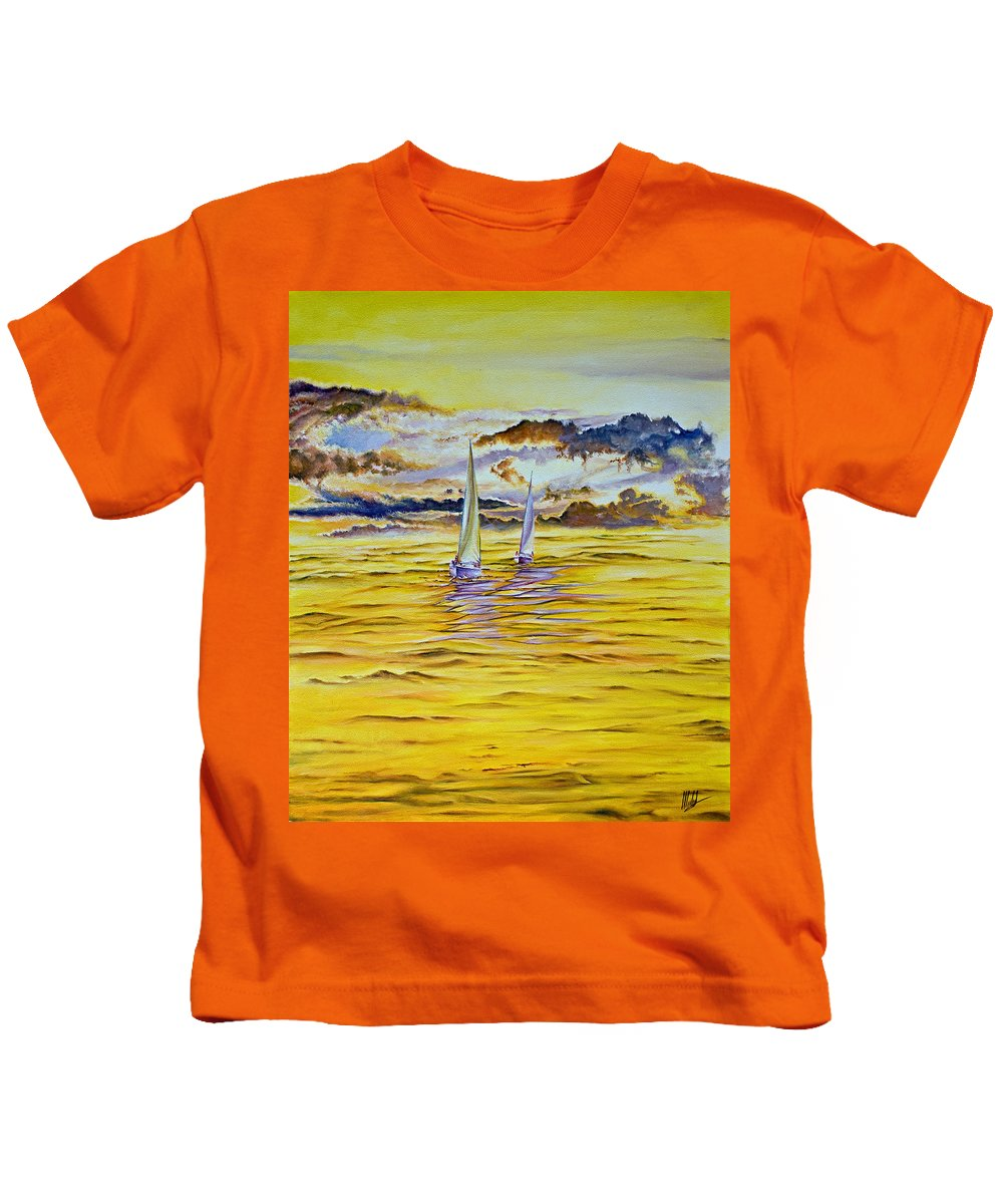 Kids T-Shirt featuring the painting Happy Sailing by Michel Angelo Rossi