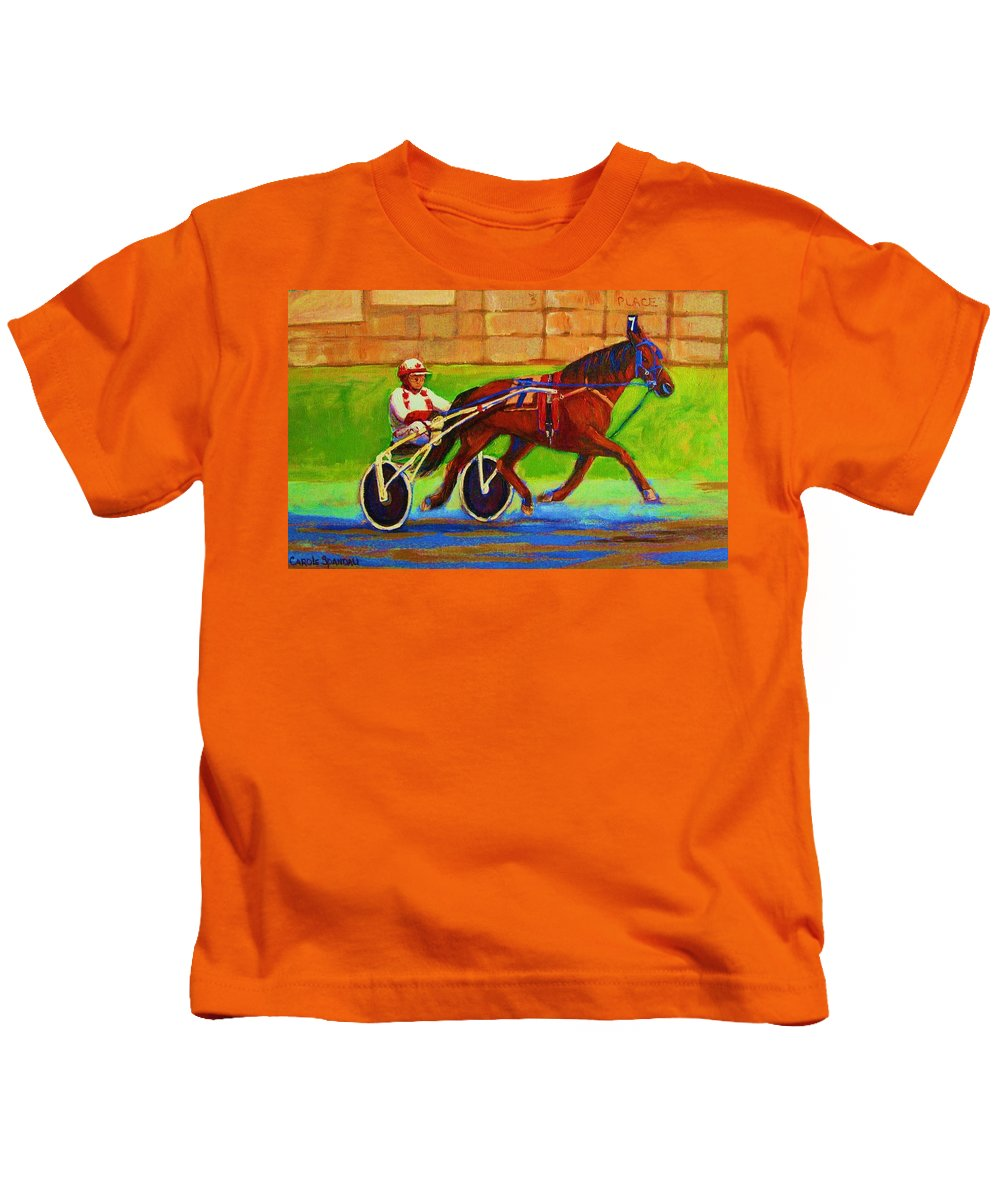 Harness Racing Kids T-Shirt featuring the painting Harness Racing At Bluebonnets by Carole Spandau