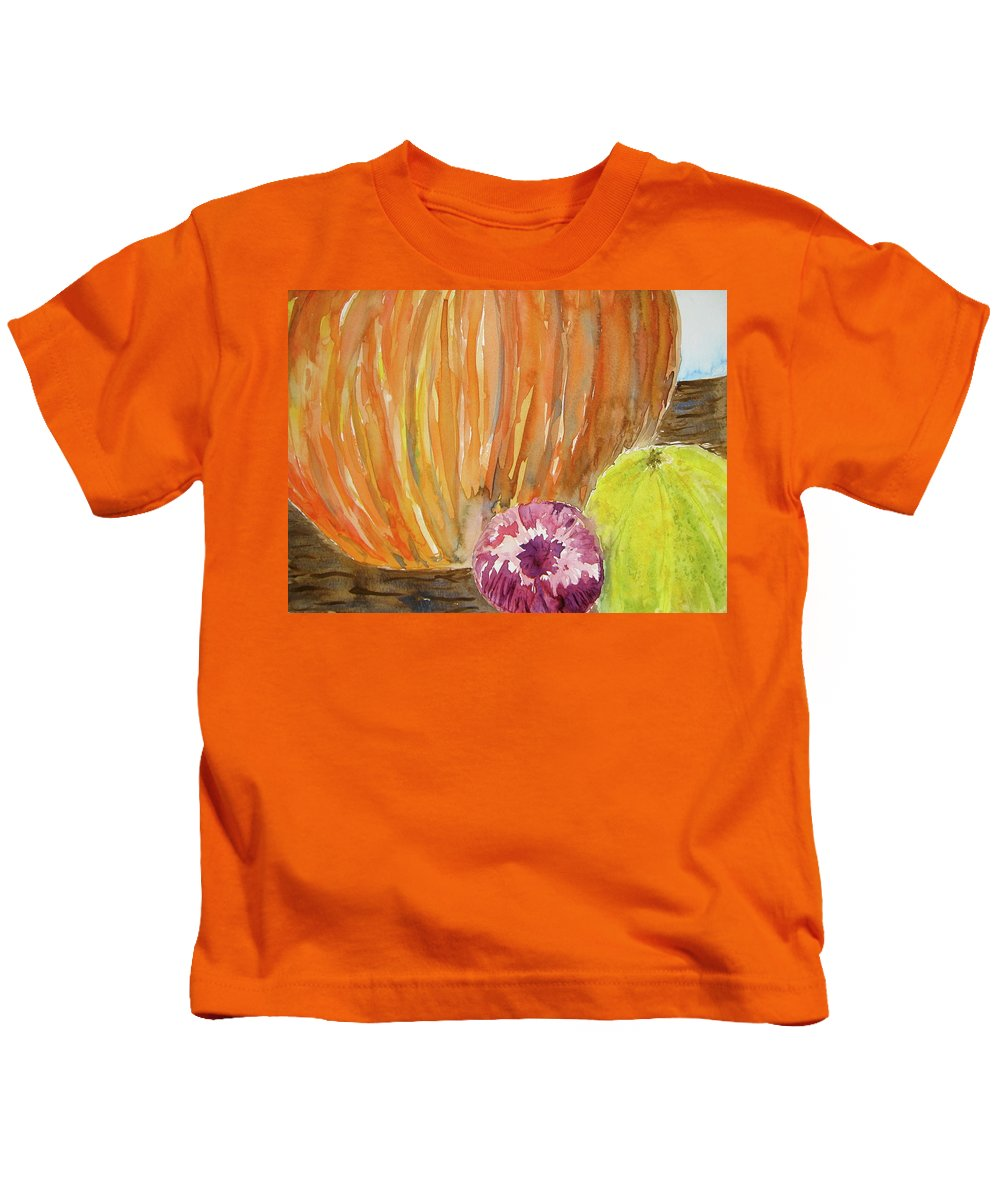 Pumpkin Kids T-Shirt featuring the painting Harvest Still Life by Beverley Harper Tinsley