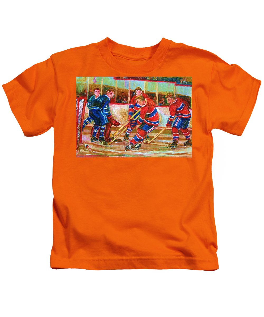 Hockey Kids T-Shirt featuring the painting He Shoots  He Scores by Carole Spandau
