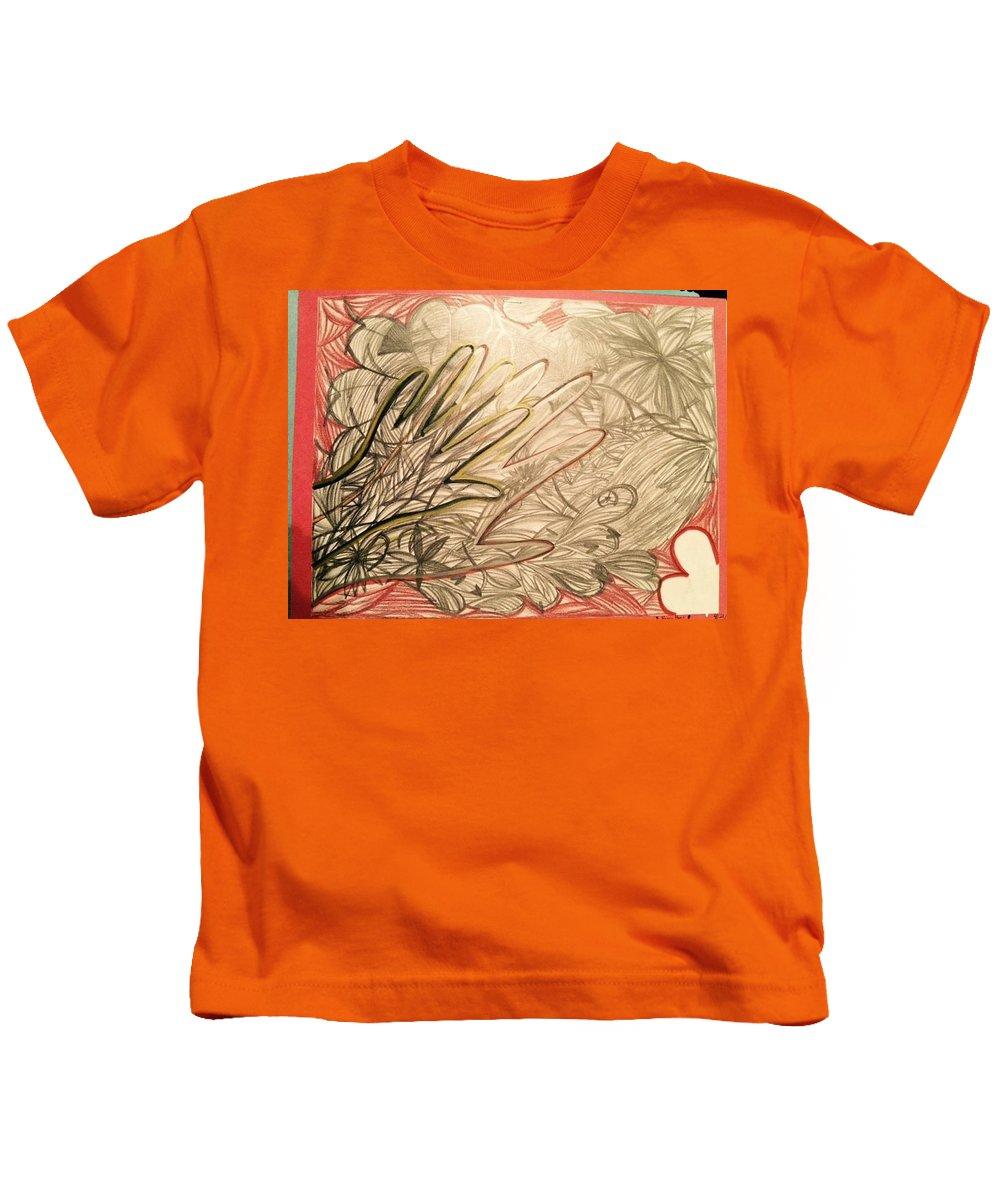 Kids T-Shirt featuring the drawing Heavy Heart by Maayan Nahman