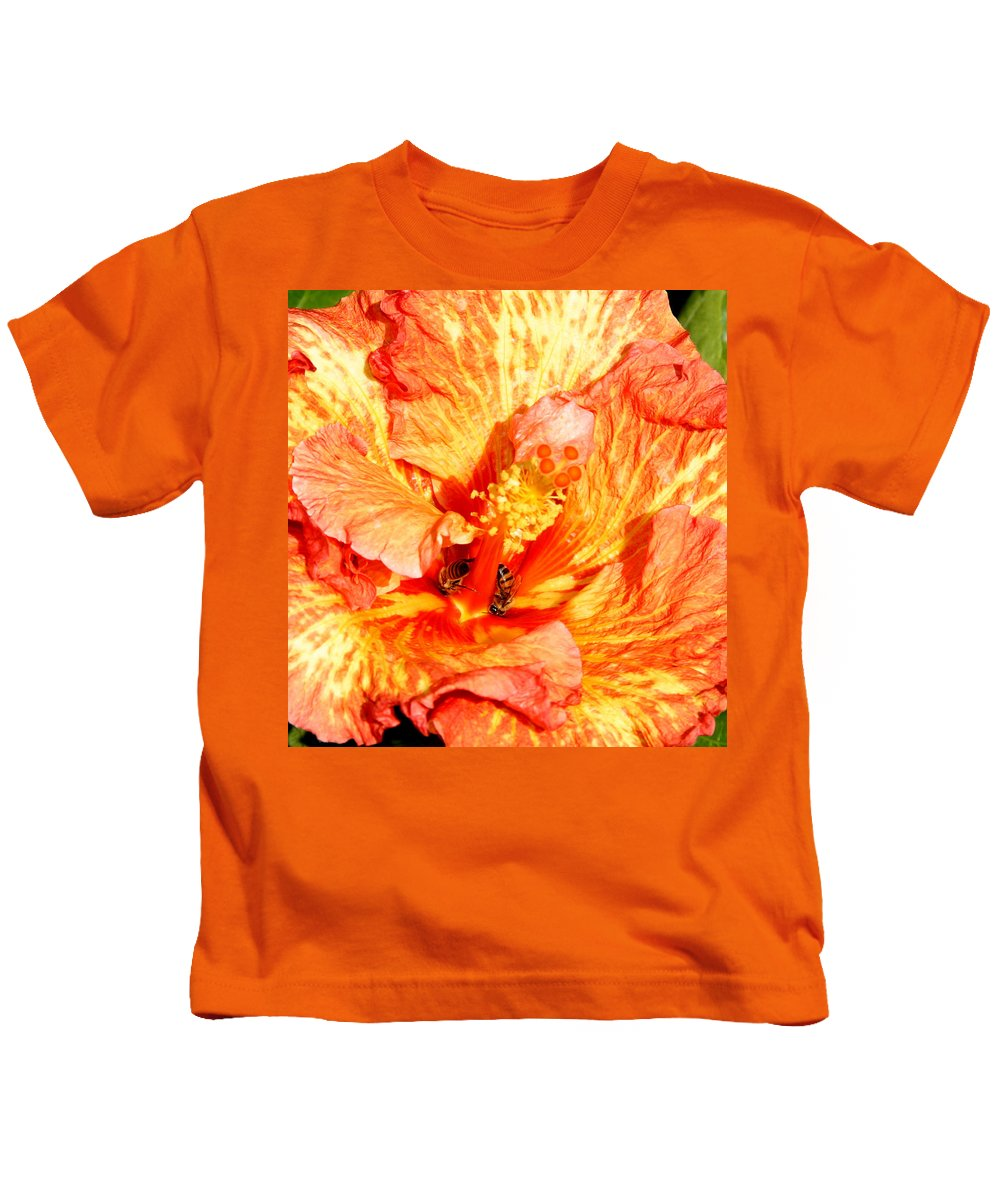 Bees Kids T-Shirt featuring the photograph Hibiscus And Bees by Anthony Jones