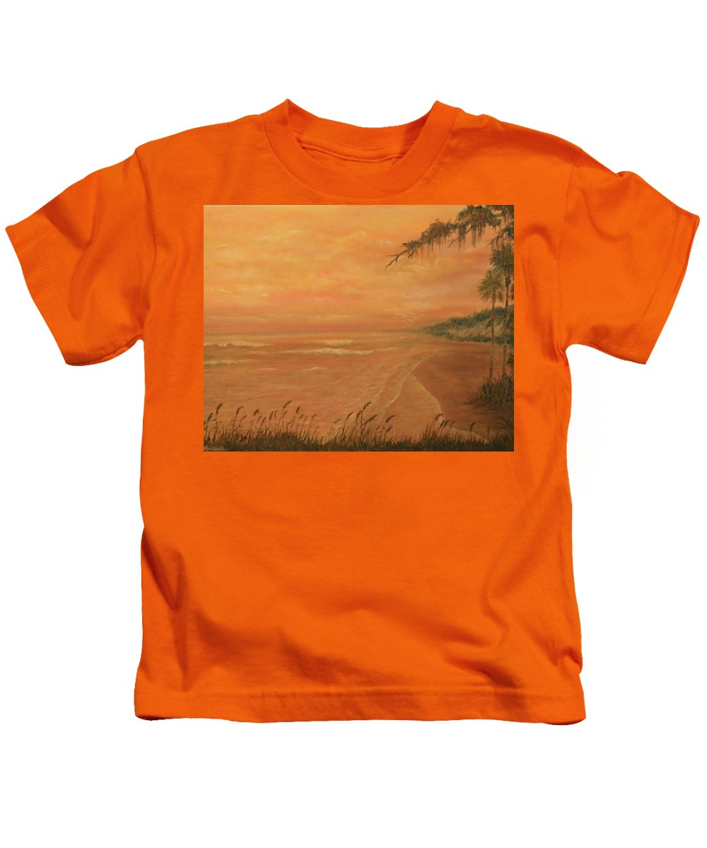 Beach; Ocean; Palm Trees; Water Kids T-Shirt featuring the painting High Tide by Ben Kiger