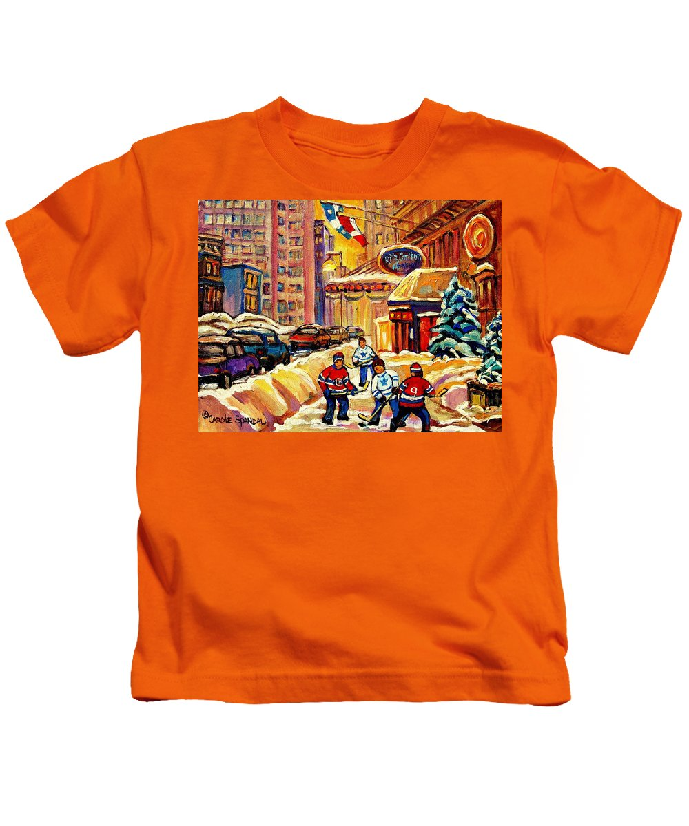 Ritz Carlton Kids T-Shirt featuring the painting Hockey Fever Hits Montreal Bigtime by Carole Spandau