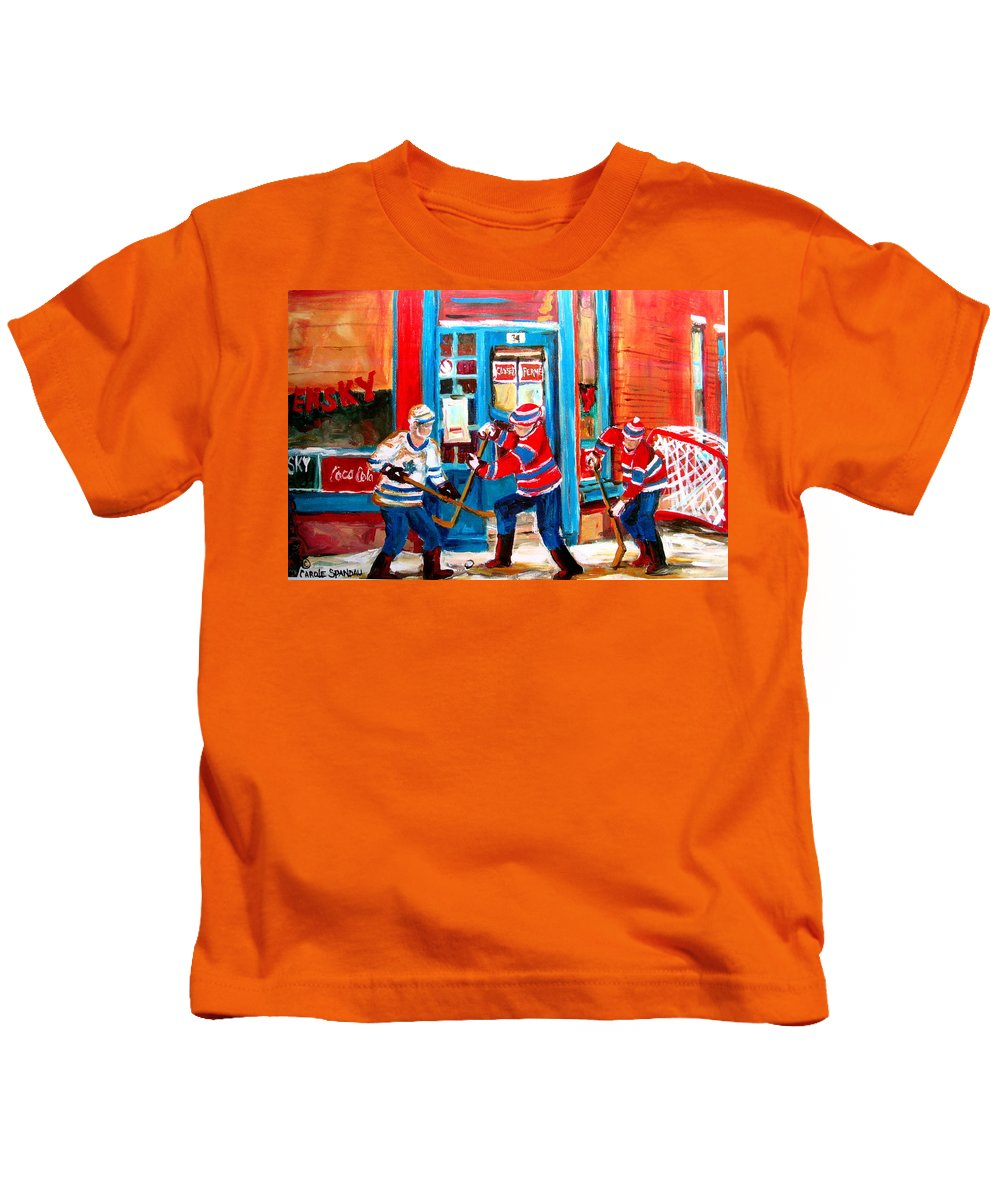 Wilenskys Kids T-Shirt featuring the painting Hockey Sticks In Action by Carole Spandau