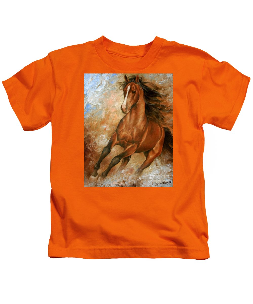 Horse Kids T-Shirt featuring the painting Horse1 by Arthur Braginsky