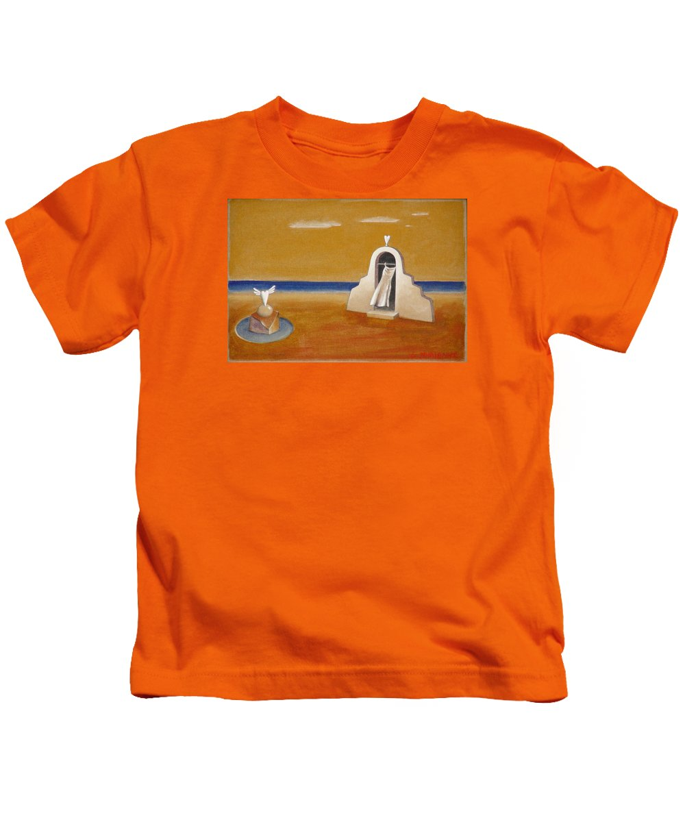 Chirico Kids T-Shirt featuring the painting House Of Eros by Dimitris Milionis