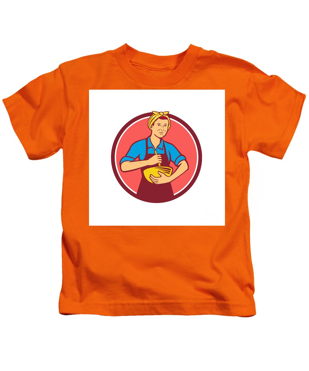 Housewife Kids T-Shirt featuring the digital art Housewife Cook Bandana Mixing Bowl Circle Retro by Aloysius Patrimonio
