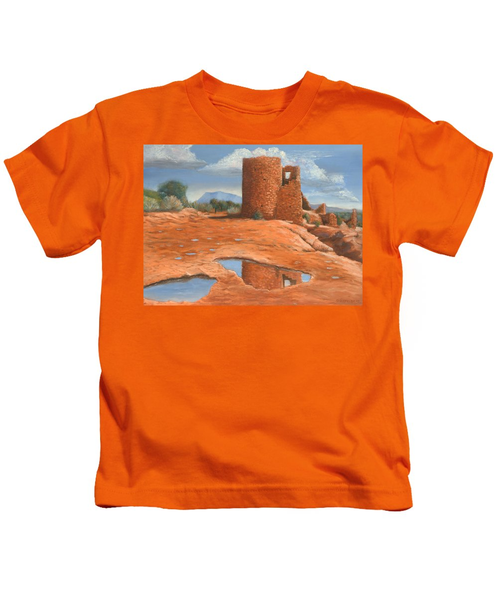 Anasazi Kids T-Shirt featuring the painting Hovenweep Reflection by Jerry McElroy
