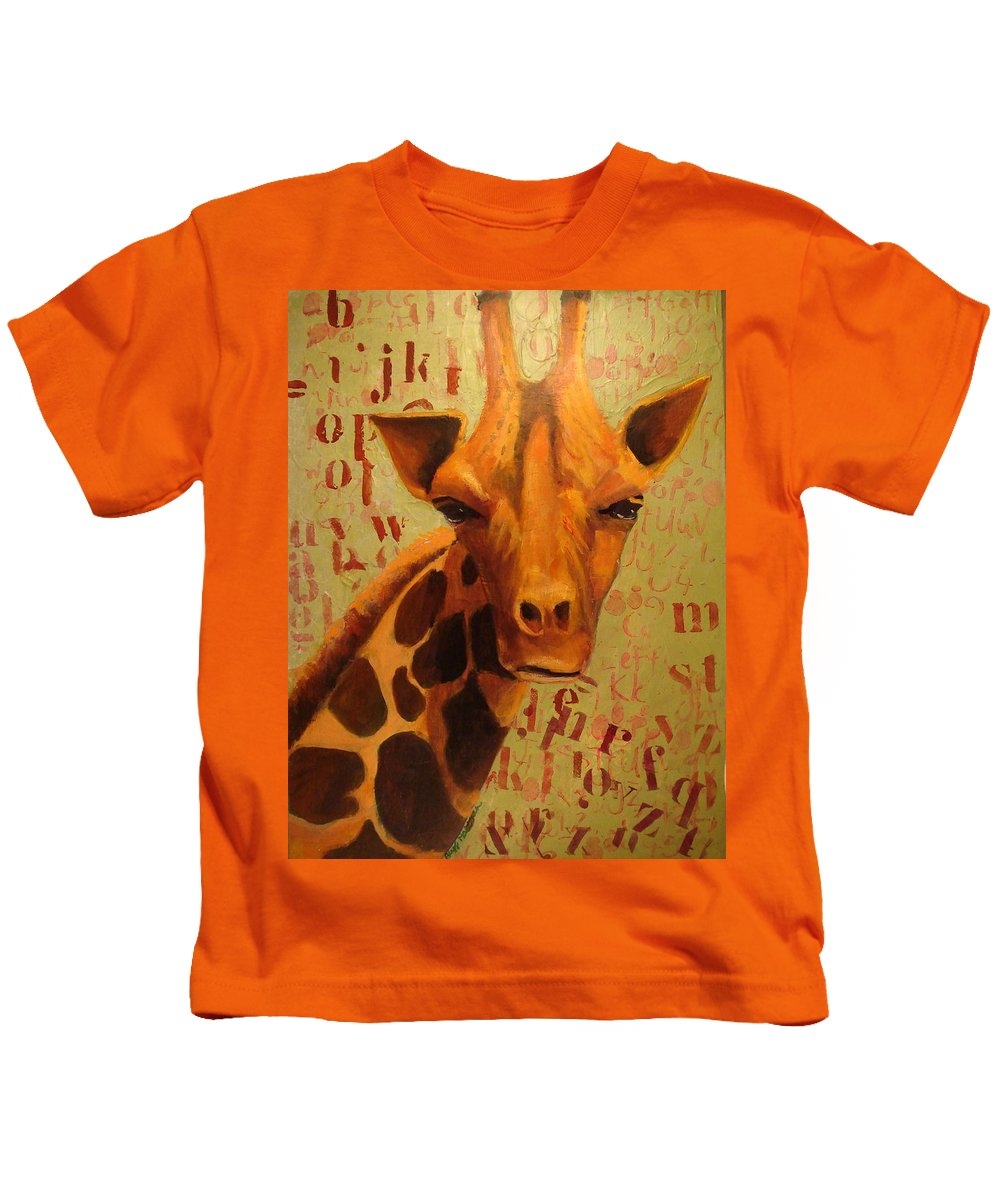 Mixed Media Kids T-Shirt featuring the mixed media How Do You Spell Giraffe? by Buff Holtman