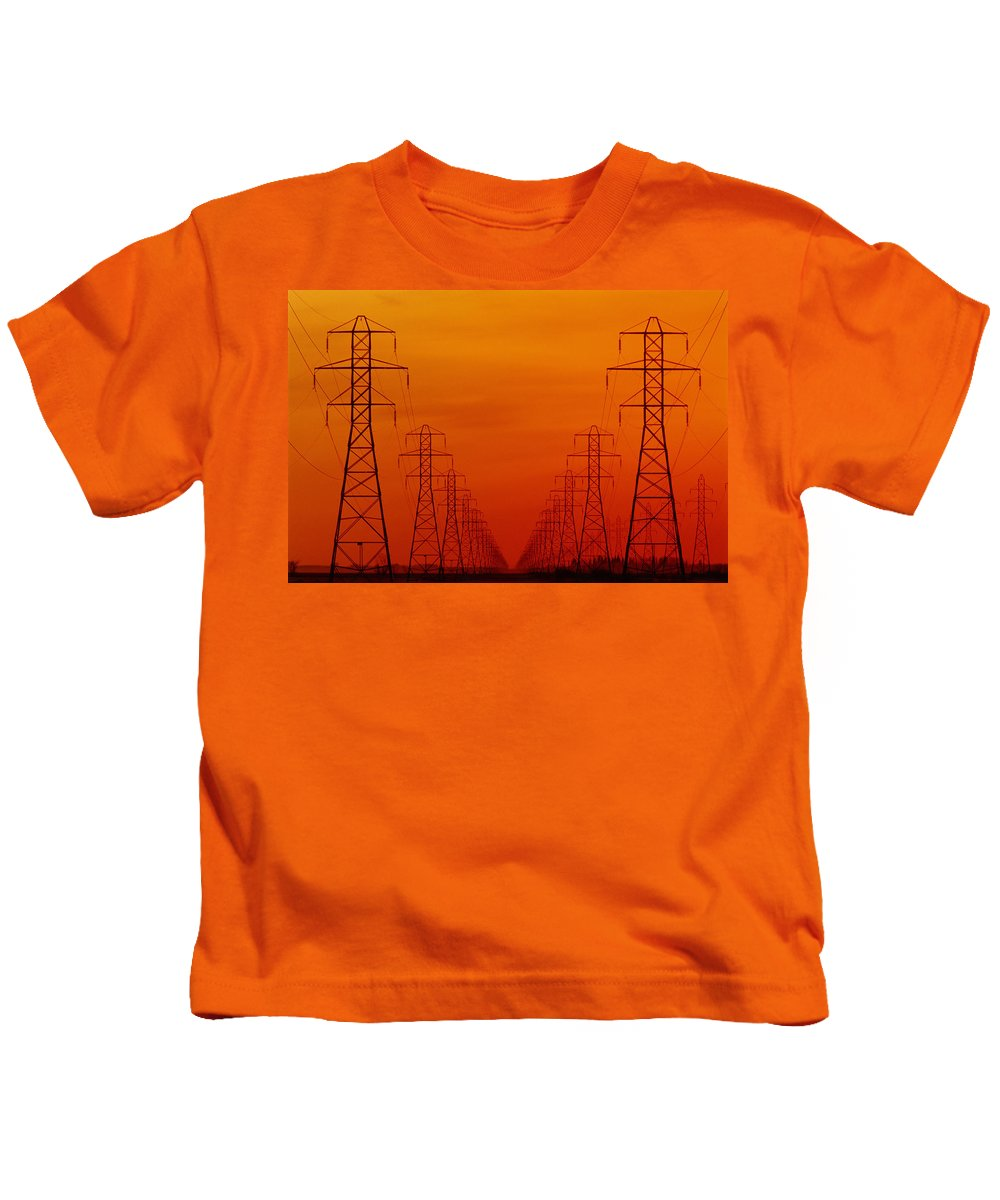Color Images Kids T-Shirt featuring the photograph Hydro Power Lines And Towers by Mike Grandmailson