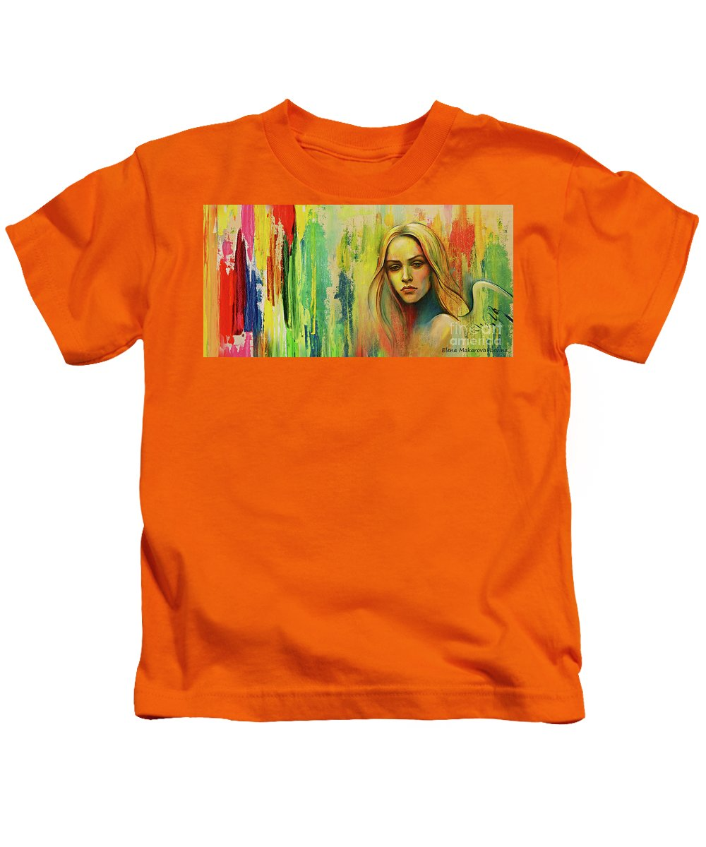 Angel Kids T-Shirt featuring the painting I Think About You_x by Elena Makarova-Levina
