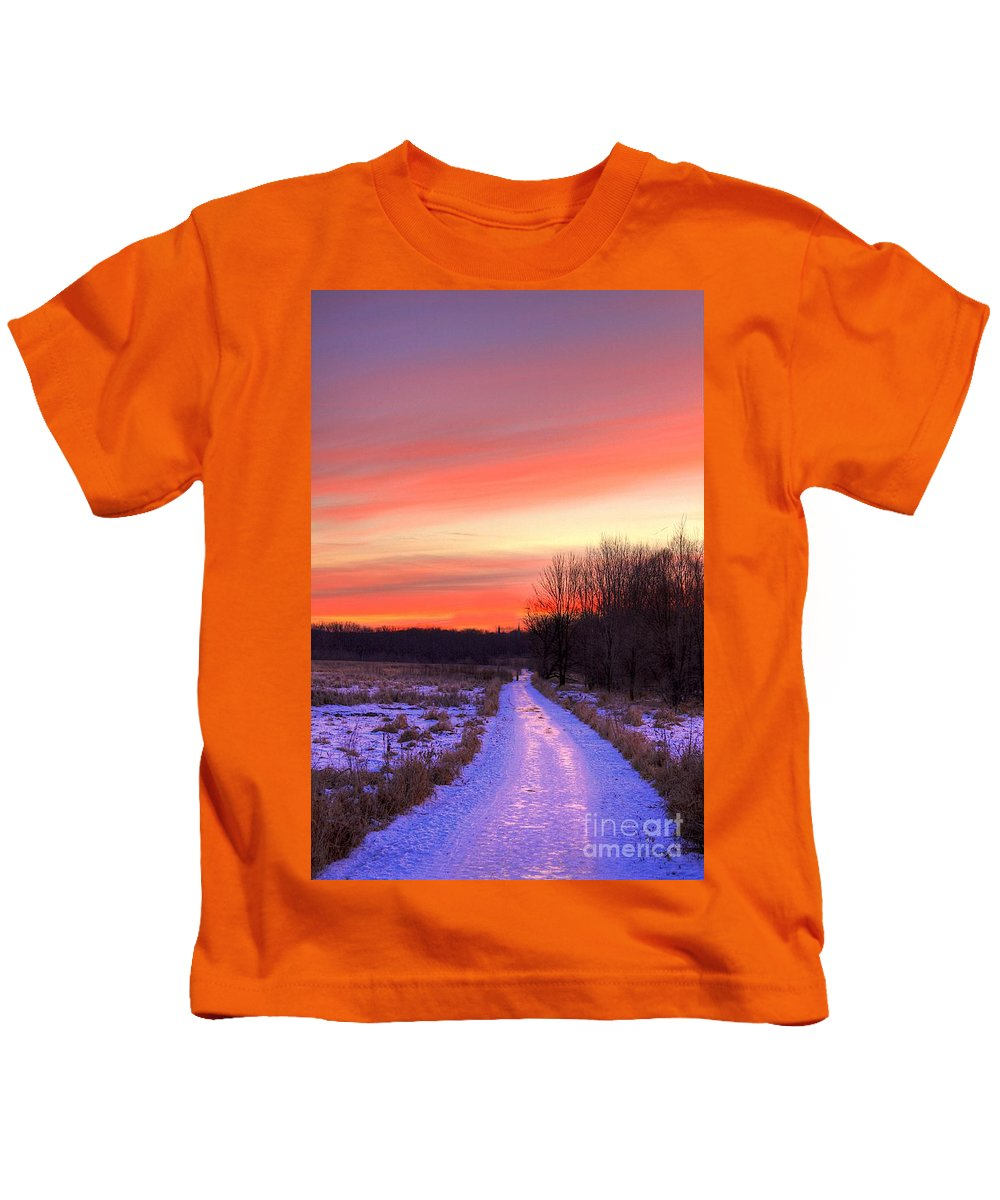 Ice Kids T-Shirt featuring the photograph Icy Path by Robert Pearson