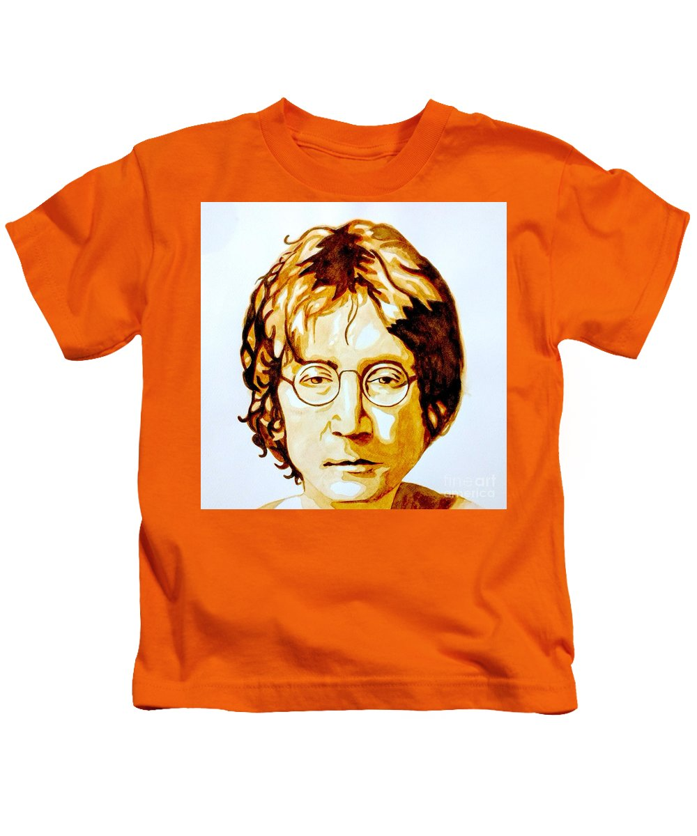 Lennon Kids T-Shirt featuring the painting Imagine by Chapi Dee