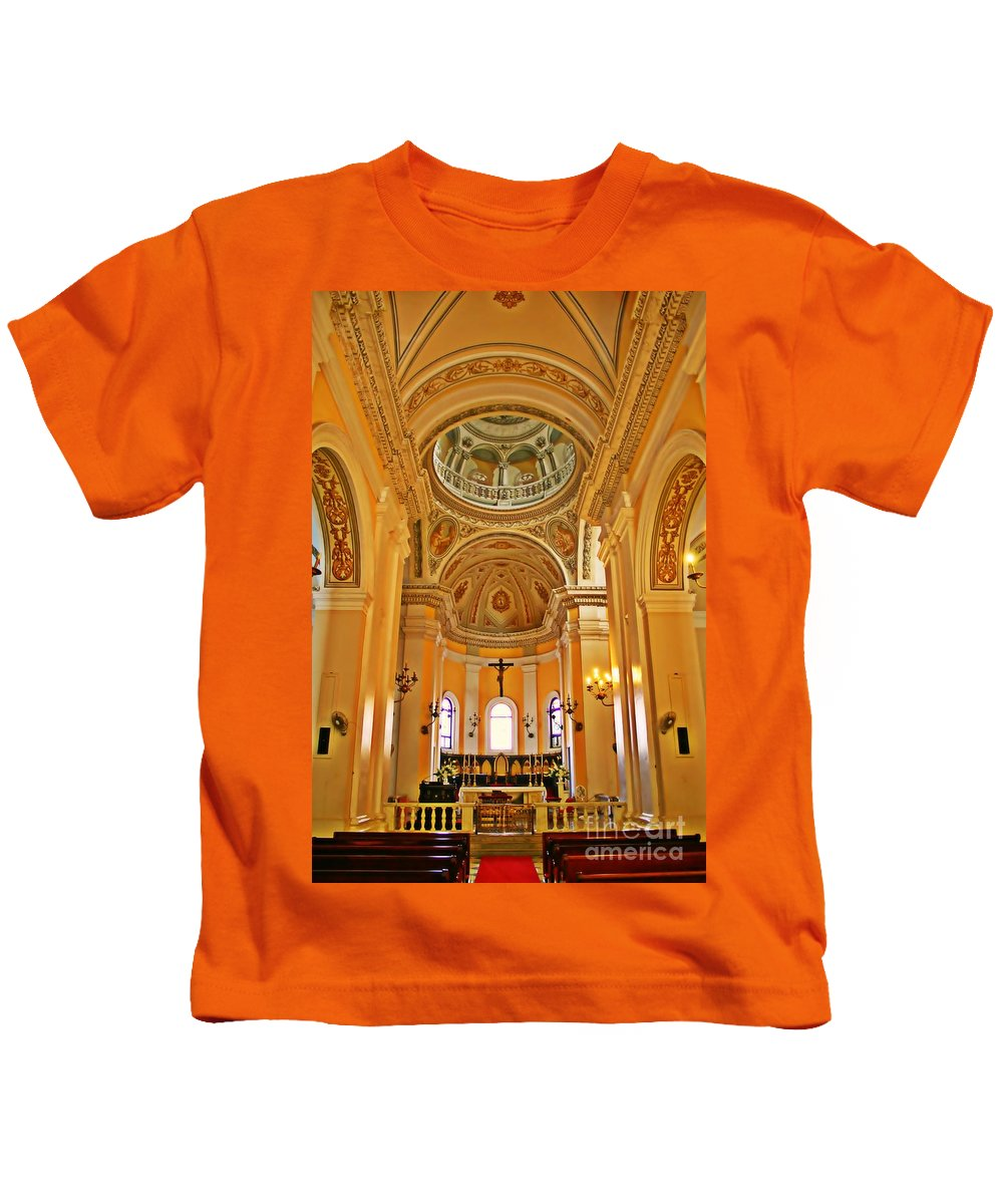 Church Kids T-Shirt featuring the photograph In Church by Perry Webster