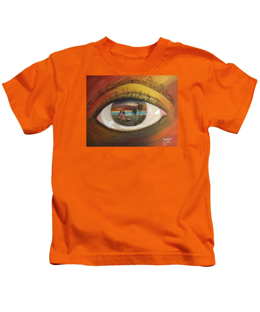 Eyes Kids T-Shirt featuring the painting In His Eyes by Reginald Henry