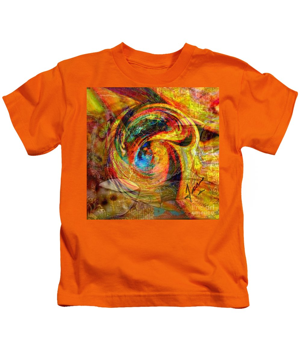 Kids T-Shirt featuring the mixed media In Position by Fania Simon