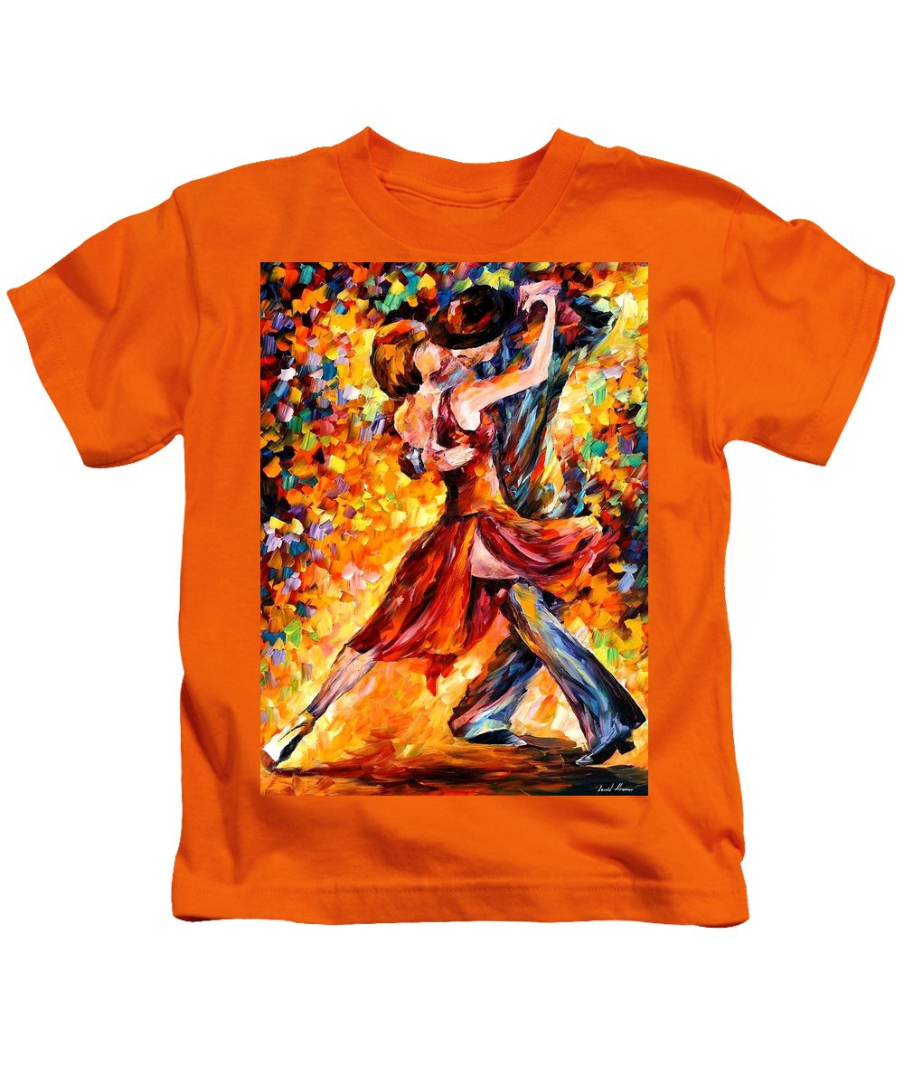 Afremov Kids T-Shirt featuring the painting In The Rhythm Of Tango by Leonid Afremov