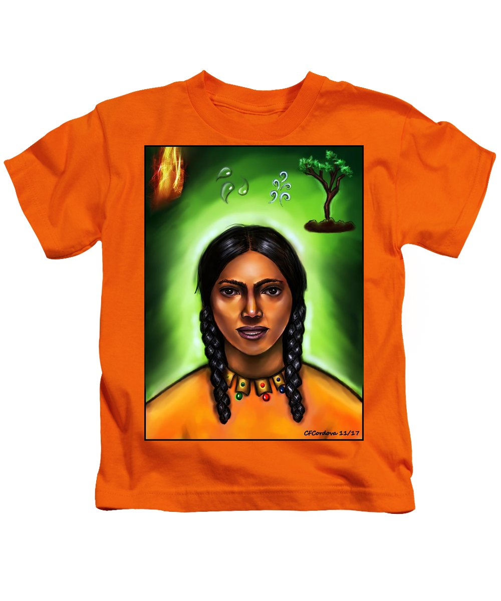 Indian Woman Kids T-Shirt featuring the jewelry Indian Spirit by Carmen Cordova