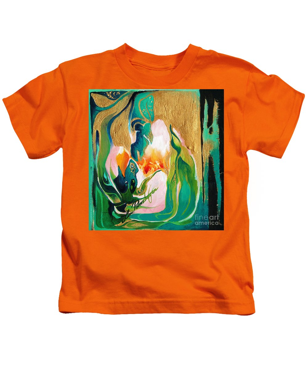 Lin Petershagen Kids T-Shirt featuring the painting Indigold by Lin Petershagen