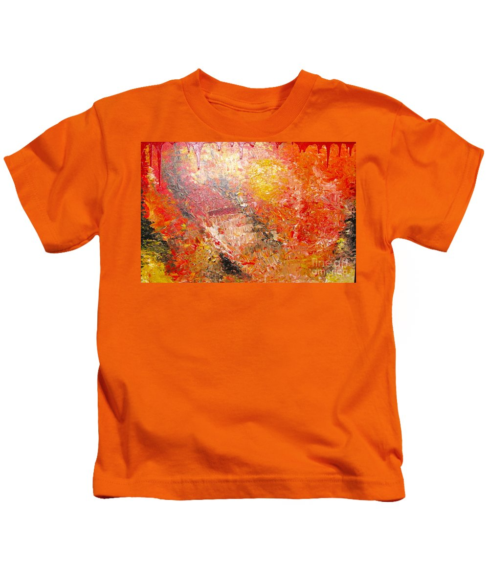 Red Kids T-Shirt featuring the painting Inferno by Jacqueline Athmann