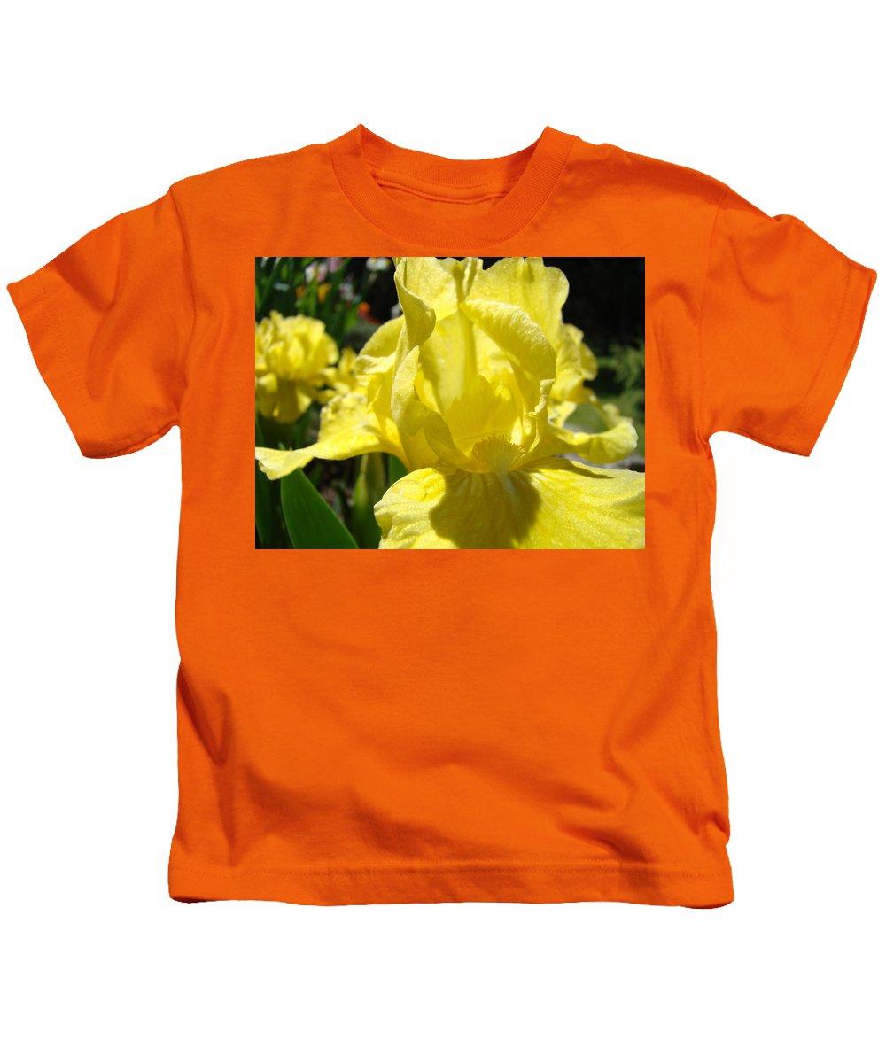 �irises Artwork� Kids T-Shirt featuring the photograph Irises Yellow Iris Flowers Floral Art Prints Botanical Garden Artwork Giclee by Baslee Troutman