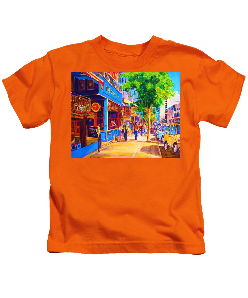 Irish Pub On Crescent Street Montreal Street Scenes Kids T-Shirt featuring the painting Irish Pub On Crescent Street by Carole Spandau