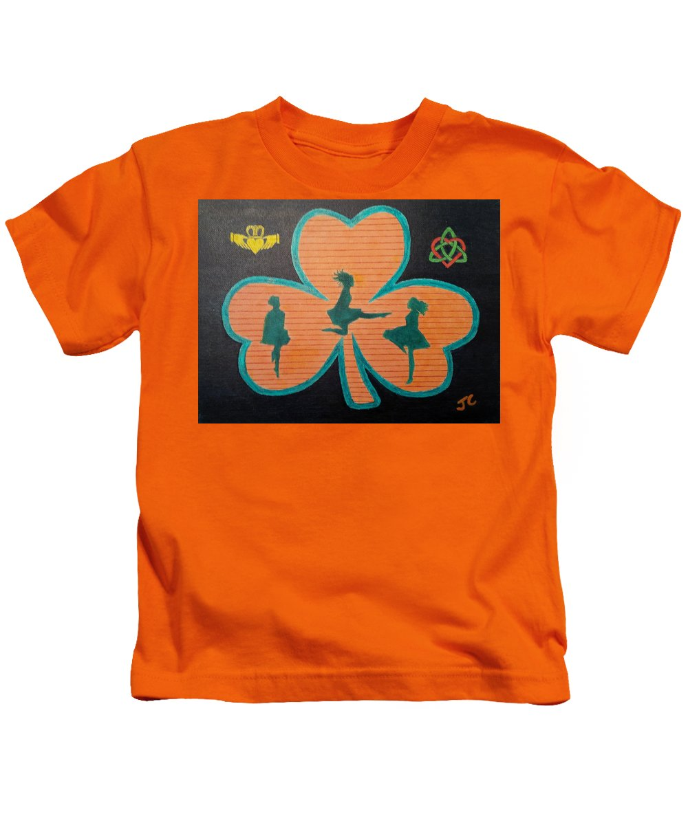Dancers Kids T-Shirt featuring the painting Irish Step Dancers by John Cunnane