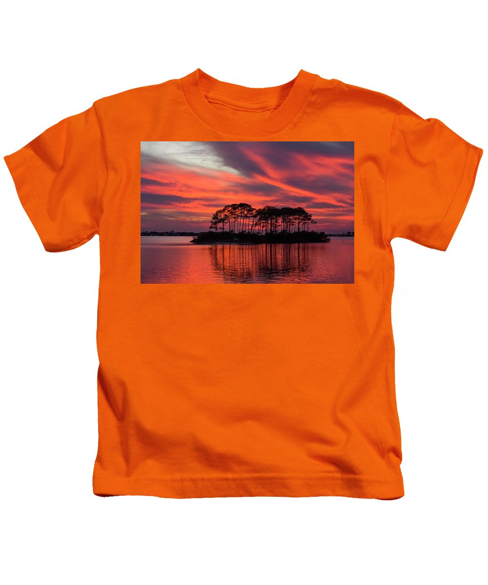 Perdido Key Kids T-Shirt featuring the photograph Island In The Fire by Gary Oliver