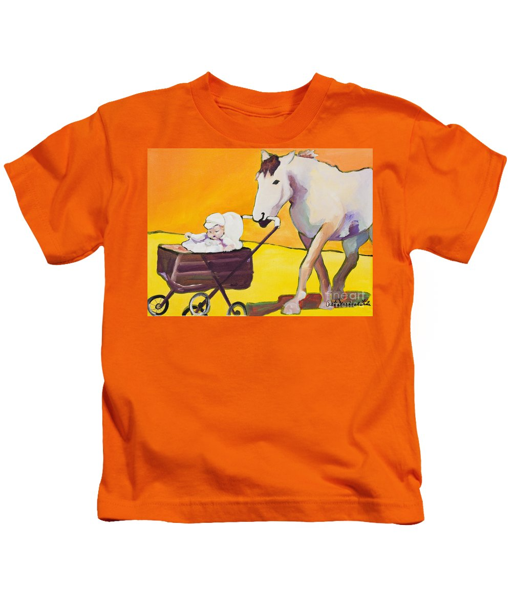 Animal Kids T-Shirt featuring the painting Jake by Pat Saunders-White