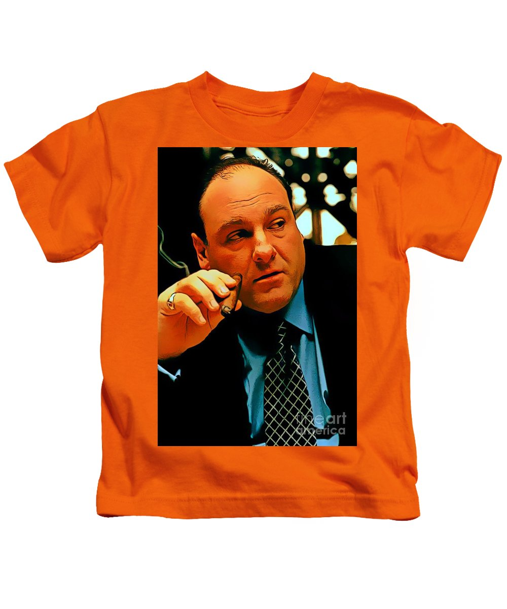 18fe5d503b98 James Gandolfini As Tony Soprano Kids T-Shirt featuring the digital art James  Gandolfini As