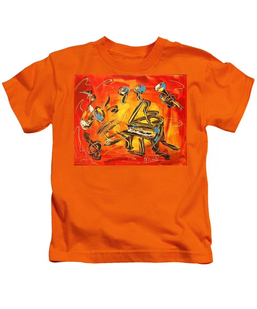 Red Poppies Kids T-Shirt featuring the painting Jazz Band by Mark Kazav