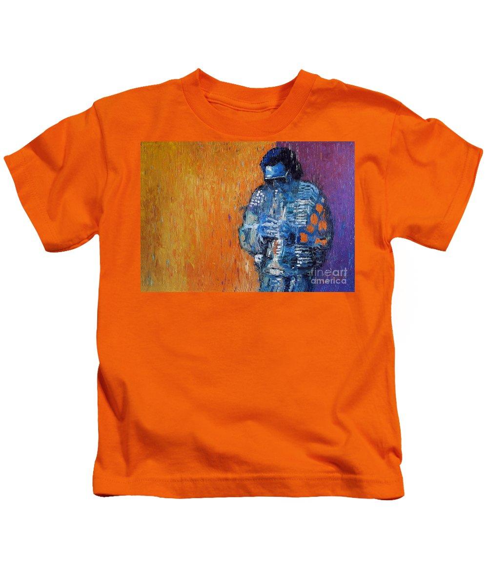 Jazz Kids T-Shirt featuring the painting Jazz Miles Davis 2 by Yuriy Shevchuk