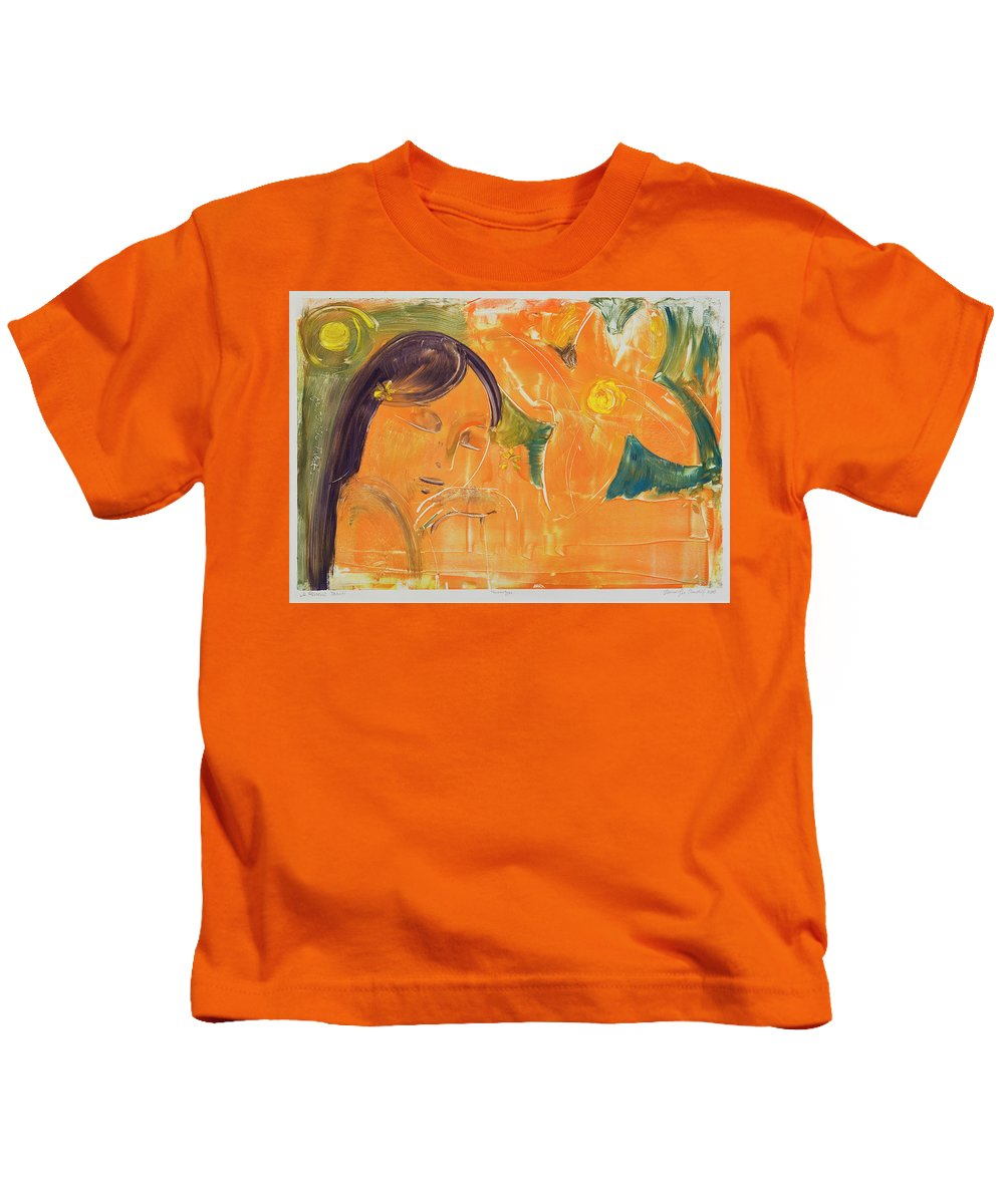 South Pacific Kids T-Shirt featuring the painting Je Revien Tahiti by Laura Lee Cundiff