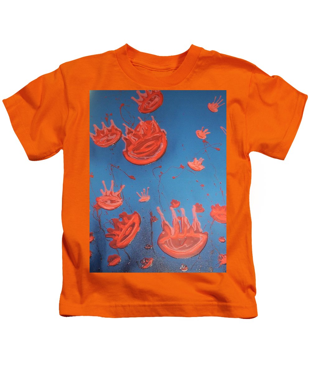 Sea Kids T-Shirt featuring the painting Jelly Fish by Joan Stratton