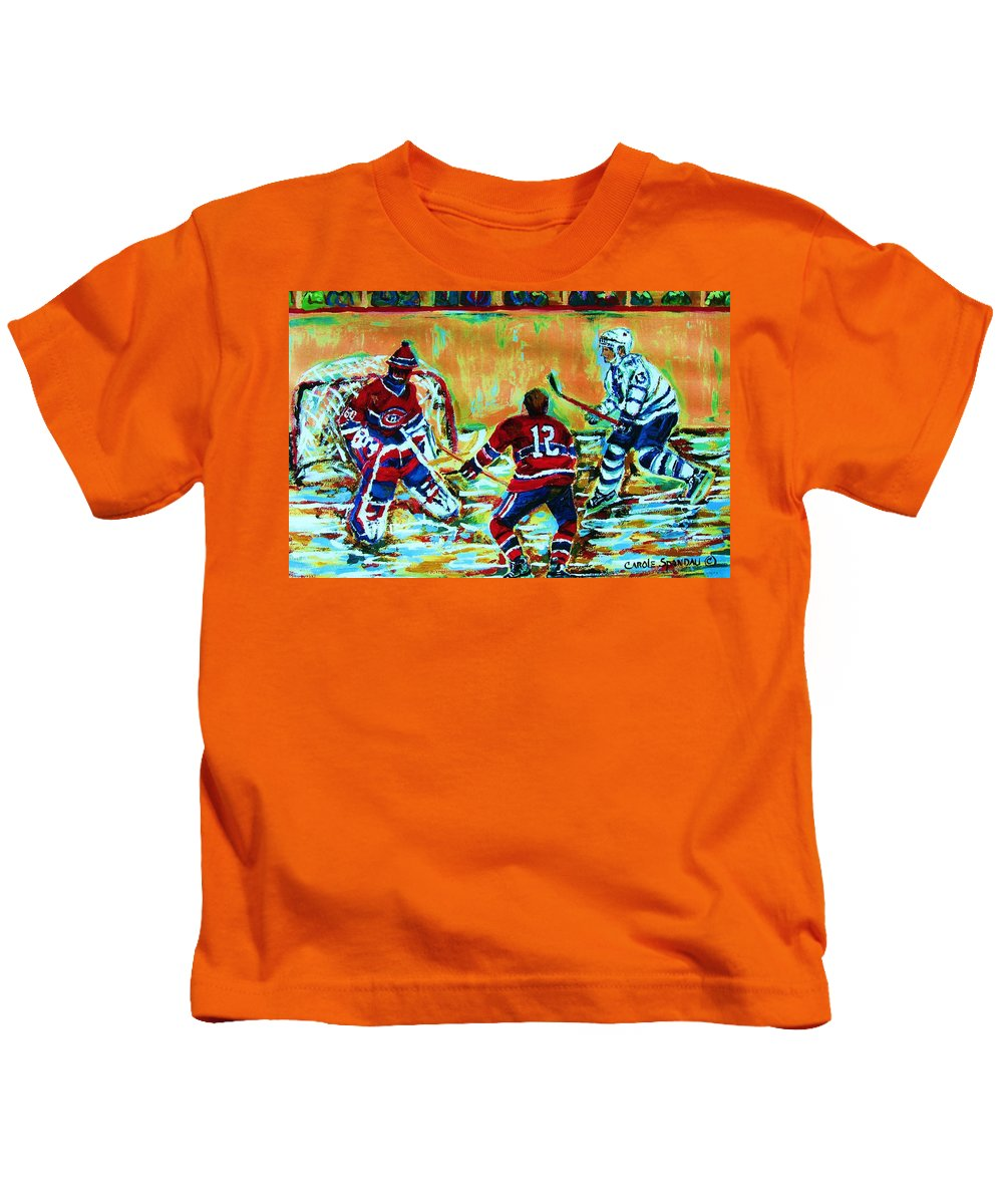 Hockey Canvas Prints Kids T-Shirt featuring the painting Jose Theodore The Goalkeeper by Carole Spandau