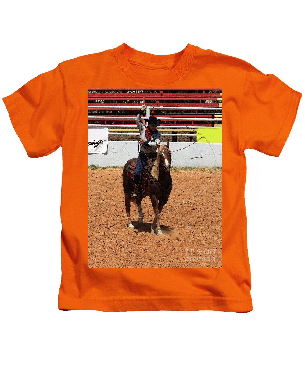 Western Entertainers Kids T-Shirt featuring the photograph Jump Now by Kim Henderson