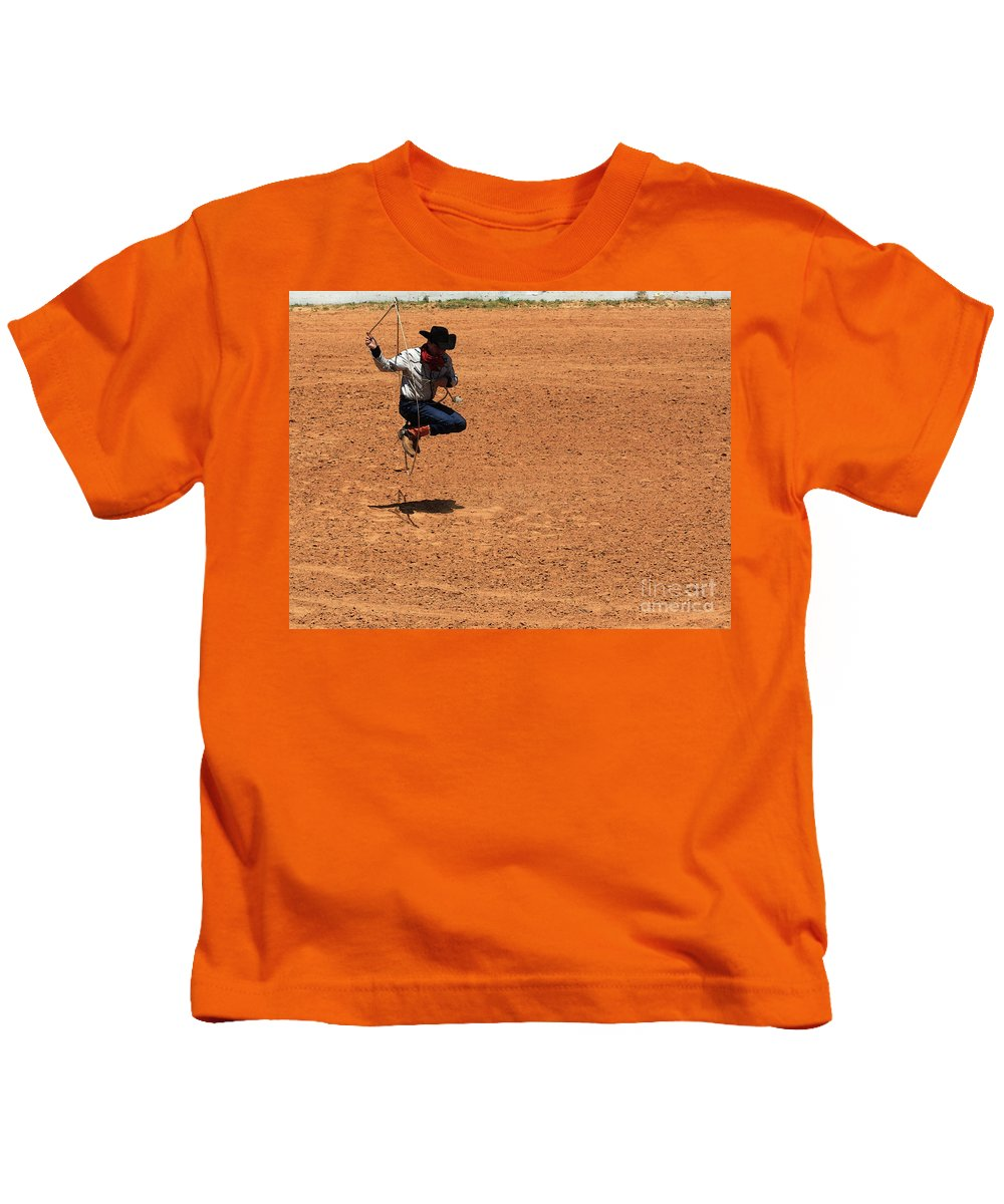 Western Art Kids T-Shirt featuring the photograph Jump Rope Cowboy Style by Kim Henderson