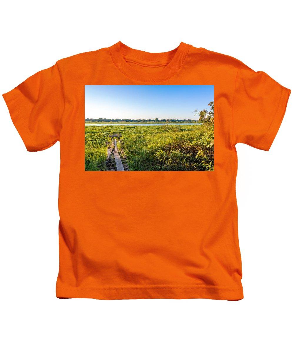 Lake Kids T-Shirt featuring the photograph Jungle And Lake by Jess Kraft