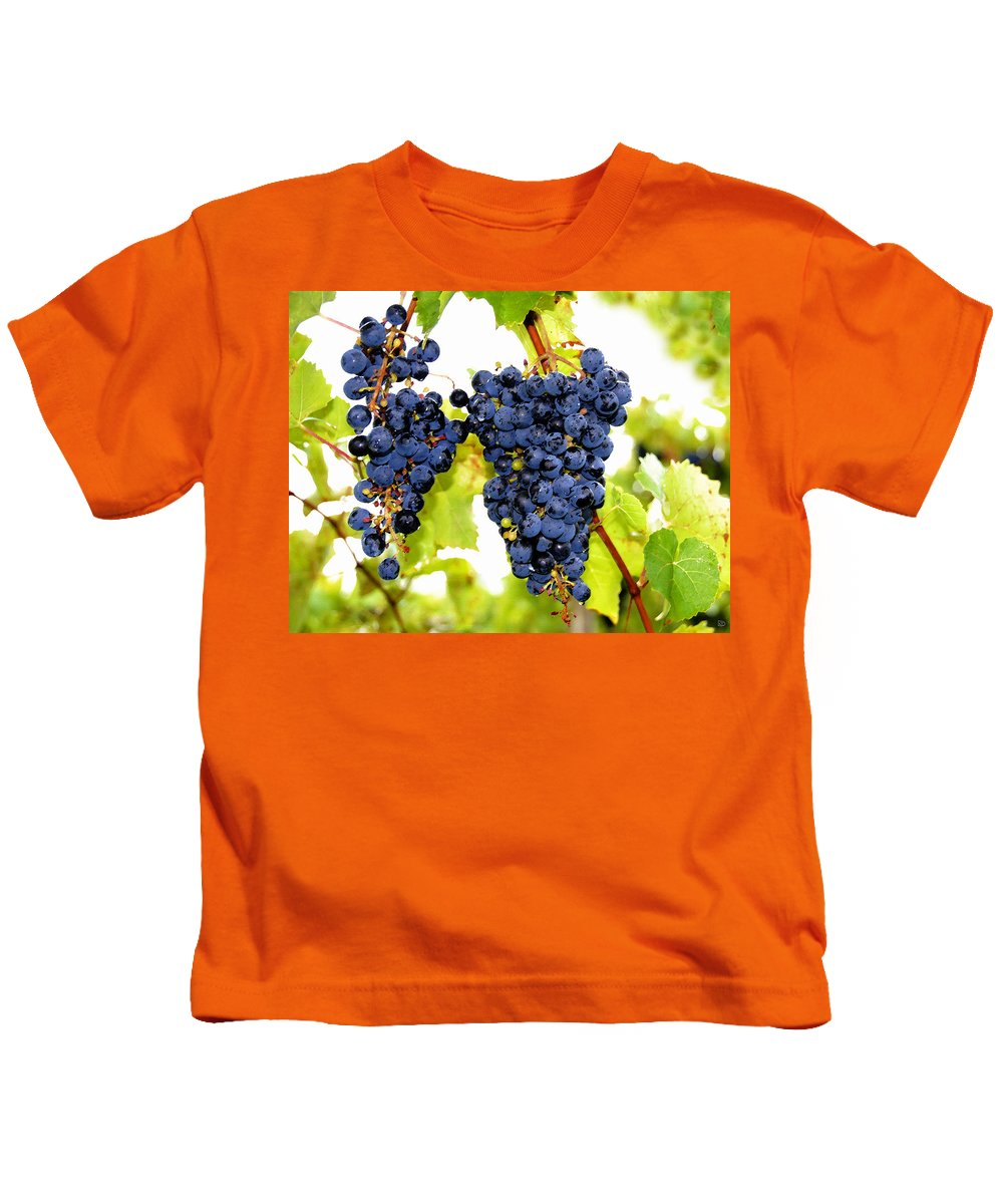 Grapes Kids T-Shirt featuring the painting Just Ripe by David Lee Thompson