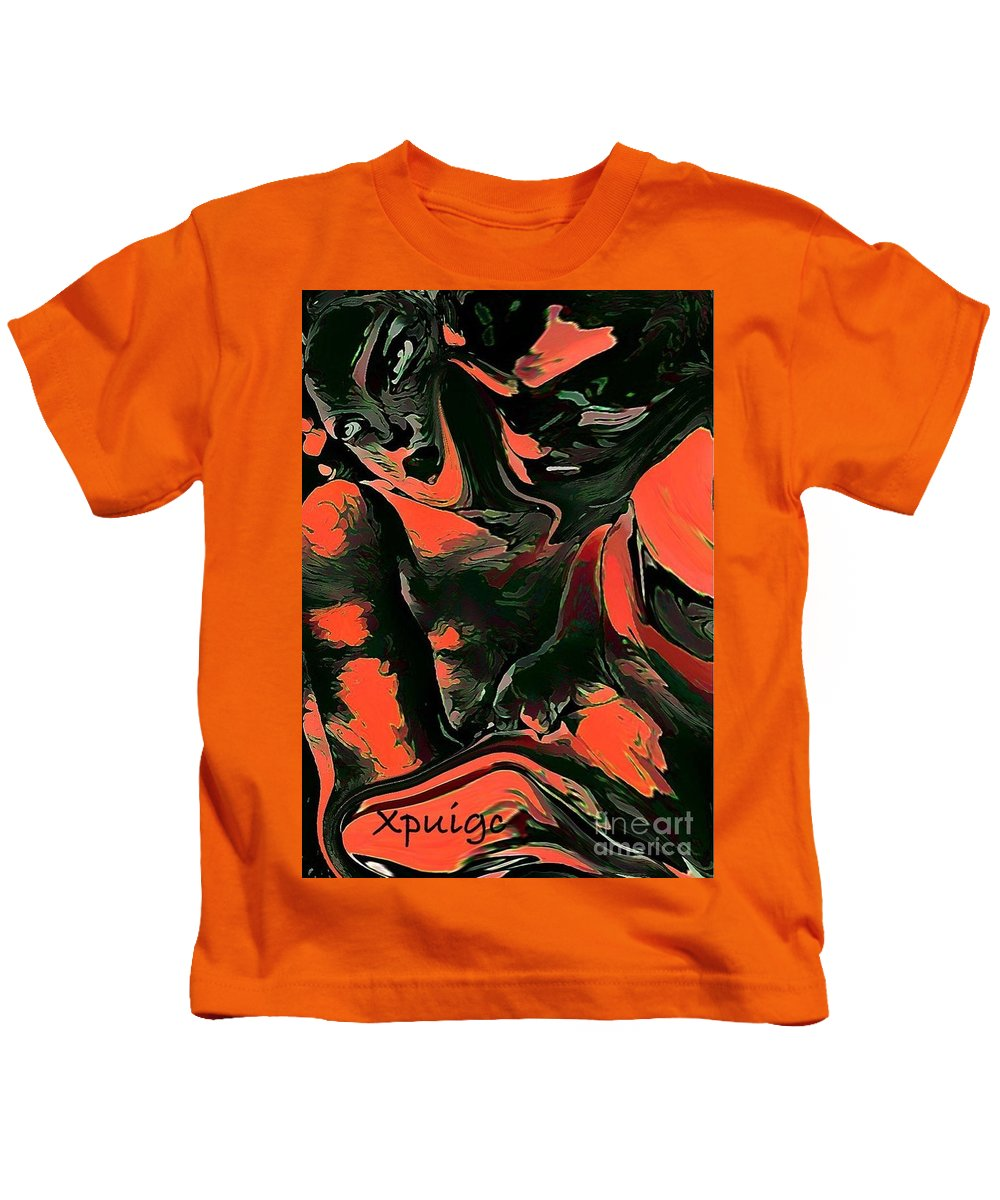 Portrait Kids T-Shirt featuring the digital art Karla Heins     by Xavier Puig