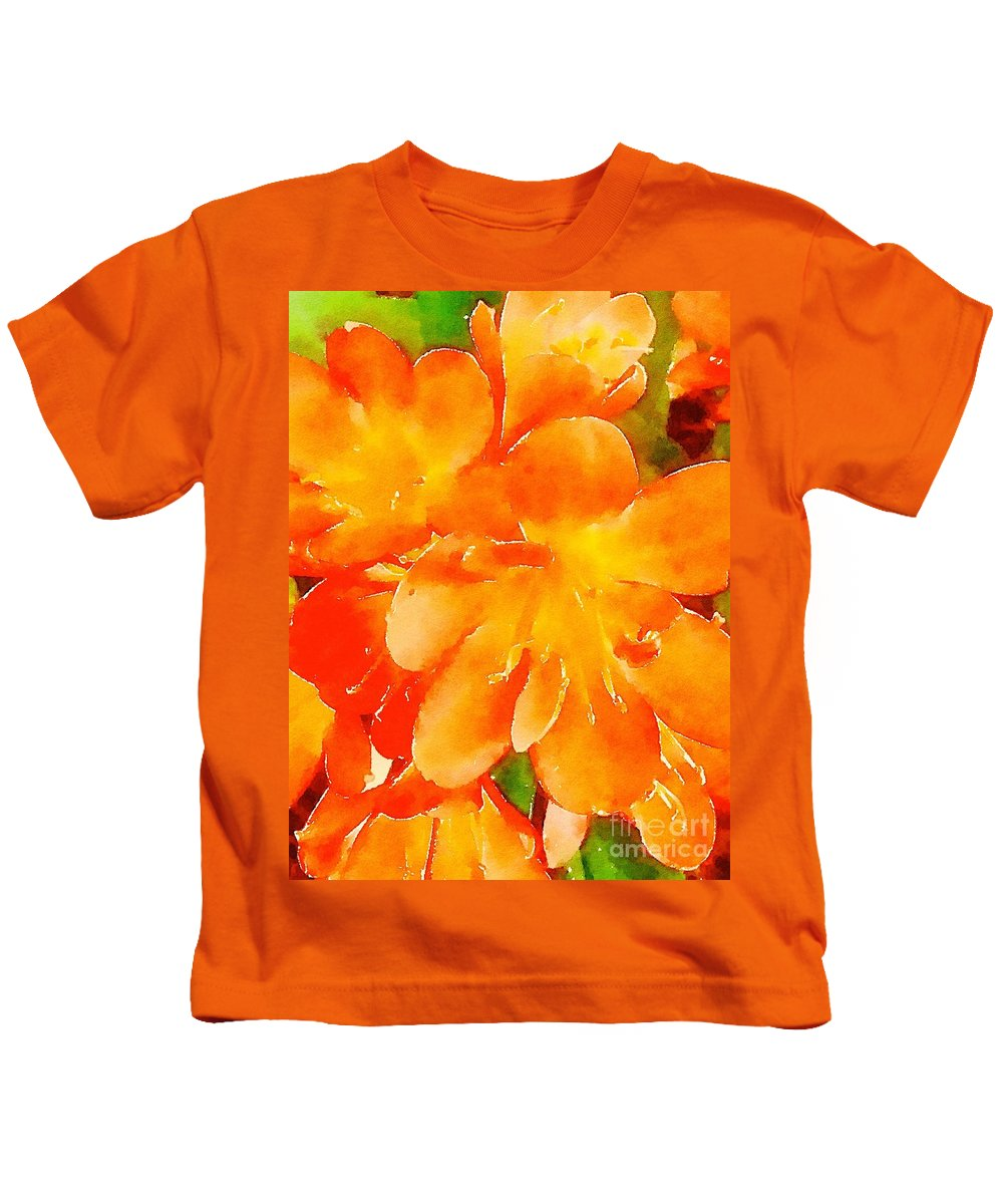 Watercolor Kids T-Shirt featuring the painting Kaffir Lily Blossoms by John Castell