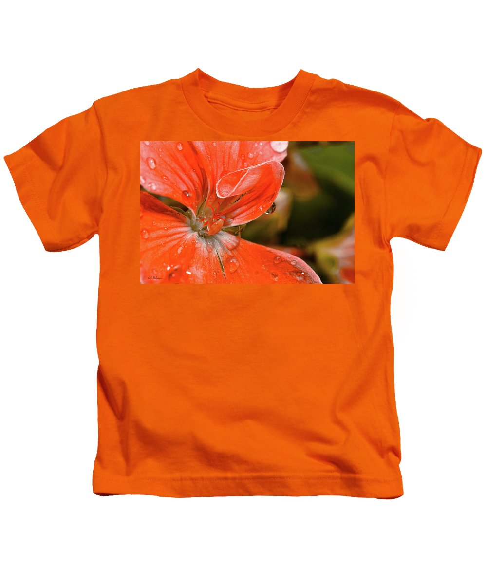 Flower Kids T-Shirt featuring the photograph Kissed By The Rain by Christopher Holmes