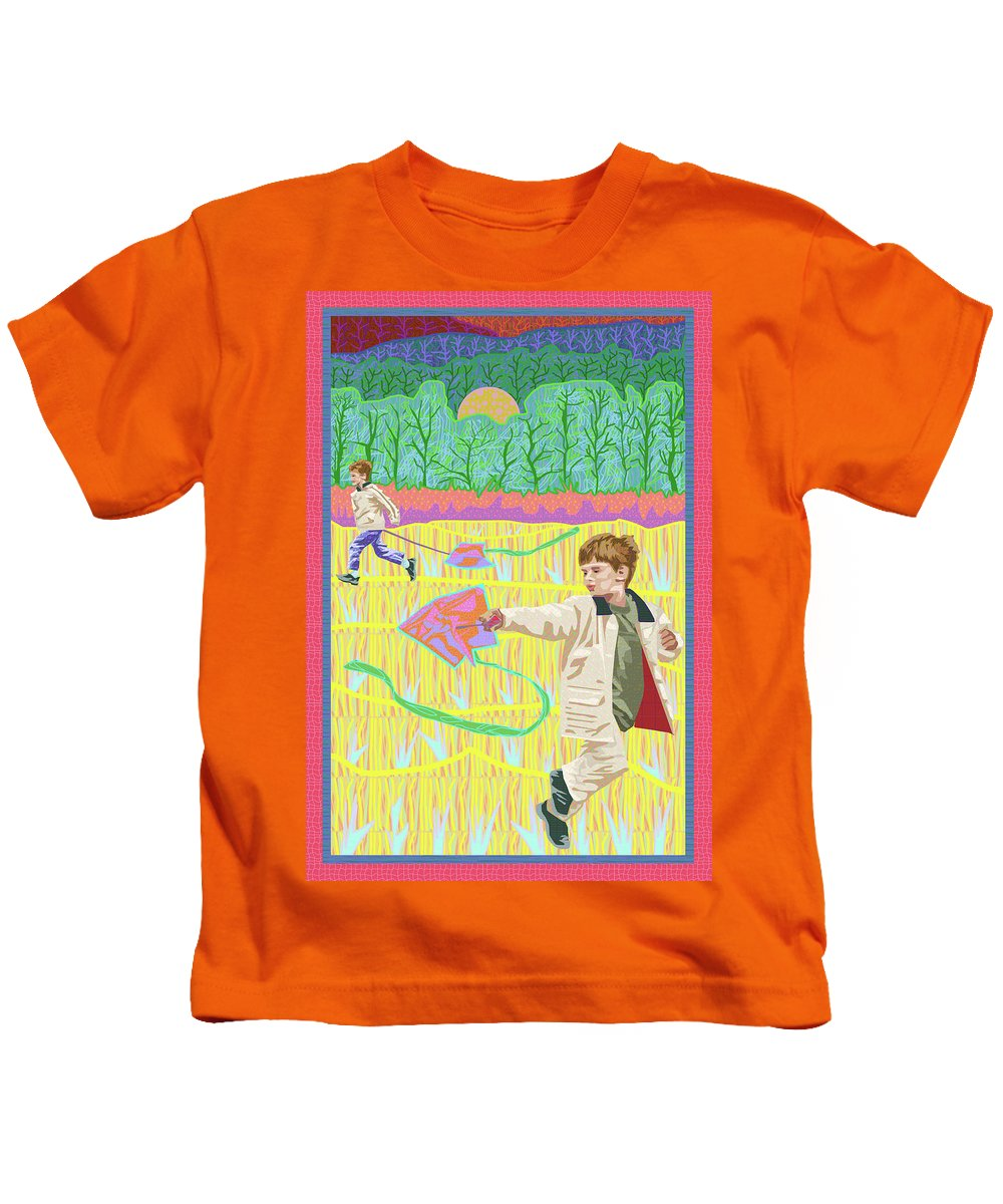 Kite Day At Fairview Kids T-Shirt featuring the digital art Kite Day by Rod Whyte