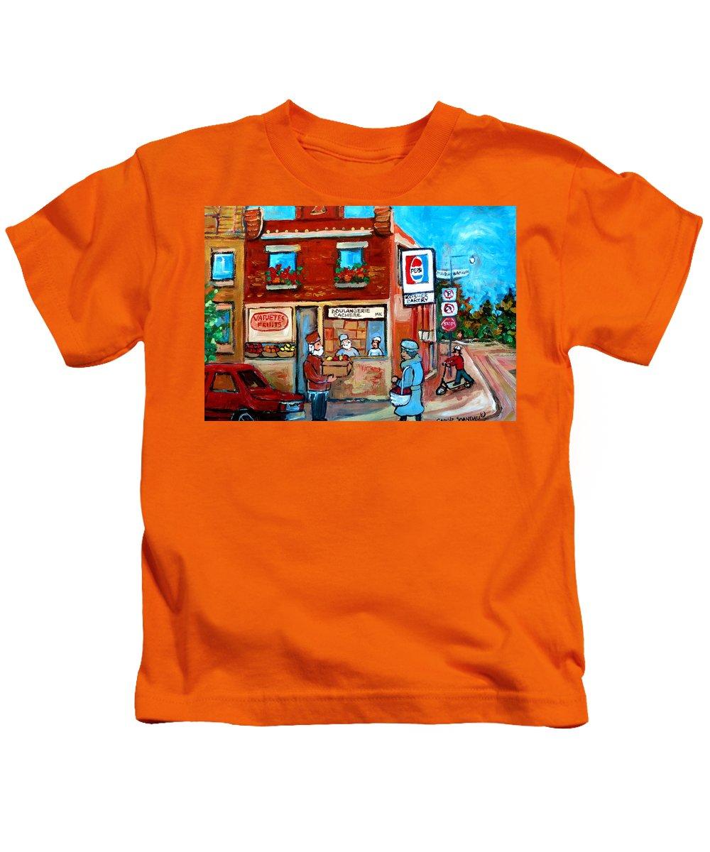 Kosher Bakery Kids T-Shirt featuring the painting Kosher Bakery On Hutchison Street by Carole Spandau