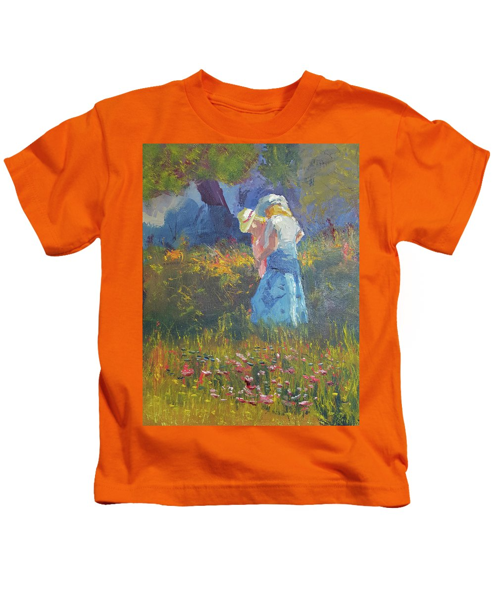 Impressionism Kids T-Shirt featuring the painting Ladies In The Woods by Russell Collins