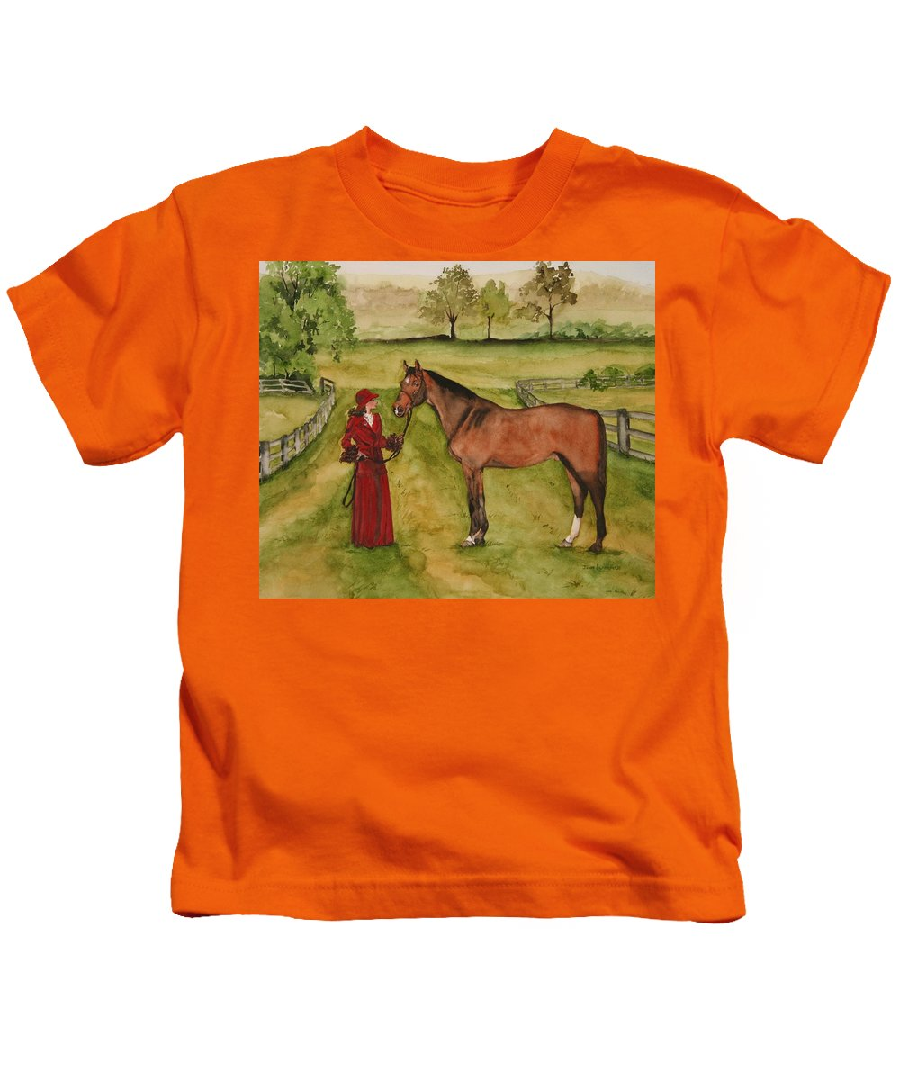 Horse Kids T-Shirt featuring the painting Lady and Horse by Jean Blackmer