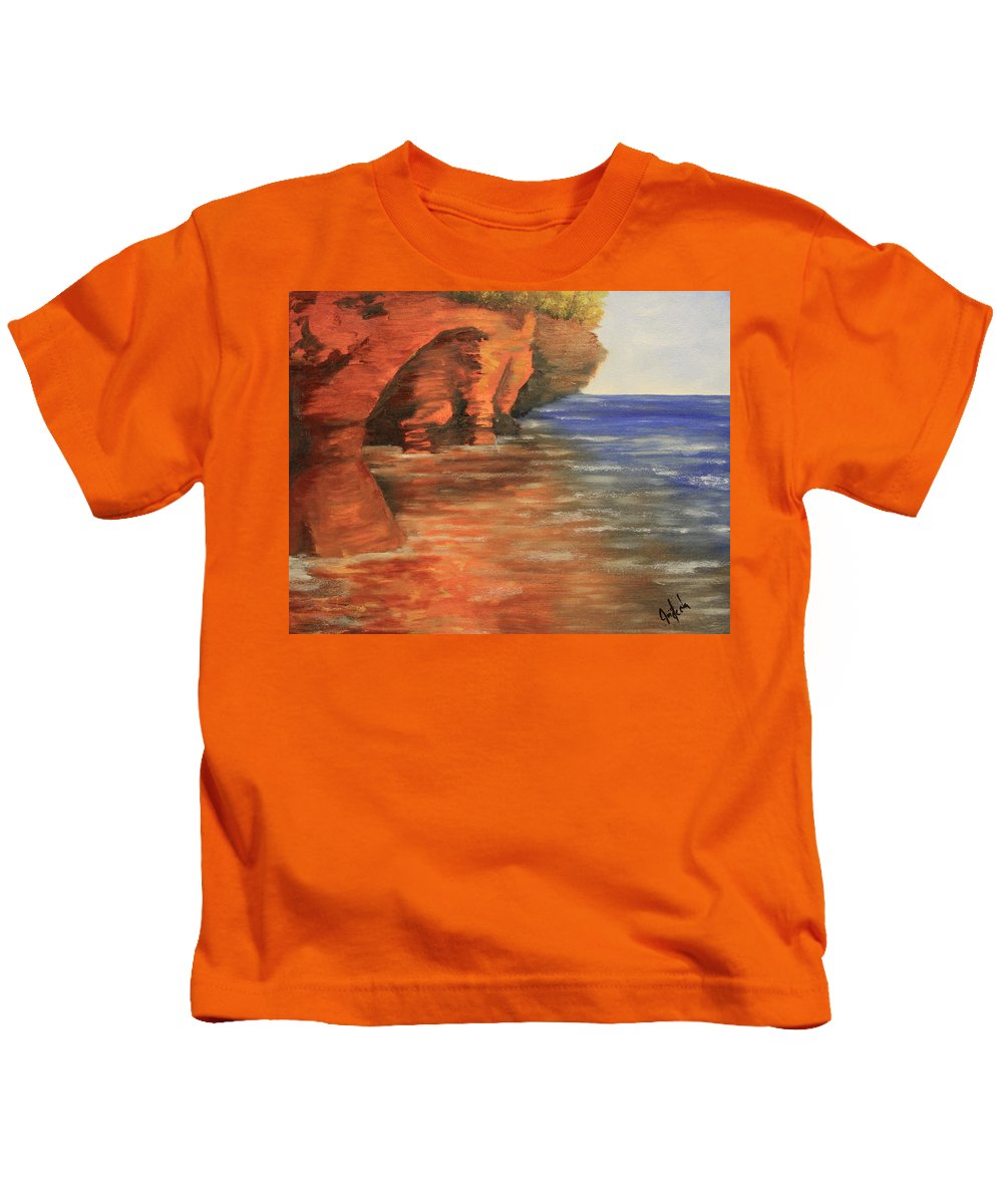 Lake Superior Kids T-Shirt featuring the painting Lake Superior Cave by Joi Electa